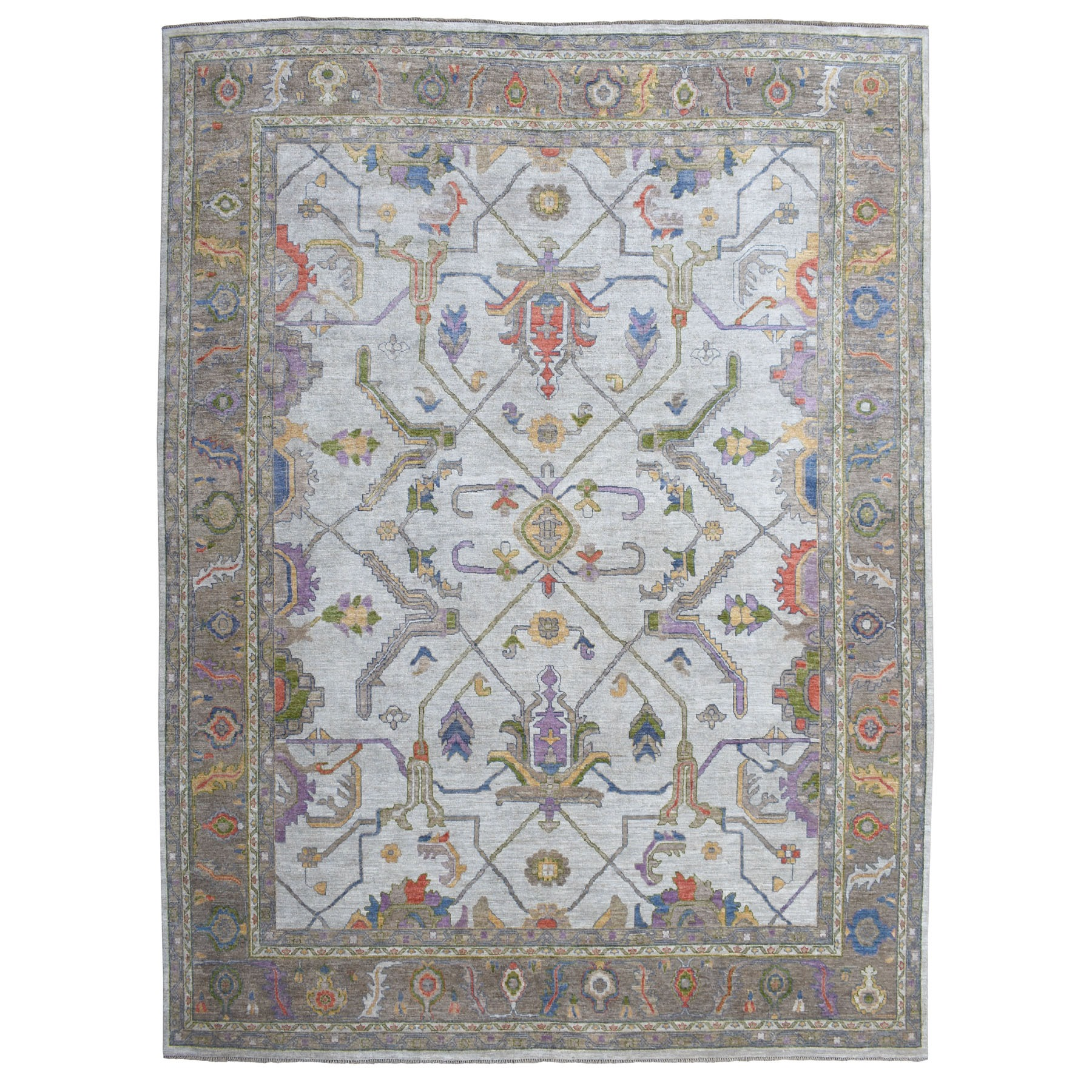 "11'10""x14'9"" Oversized Gray Angora Oushak With Soft Velvety wool Hand Knotted Oriental Rug 53627"