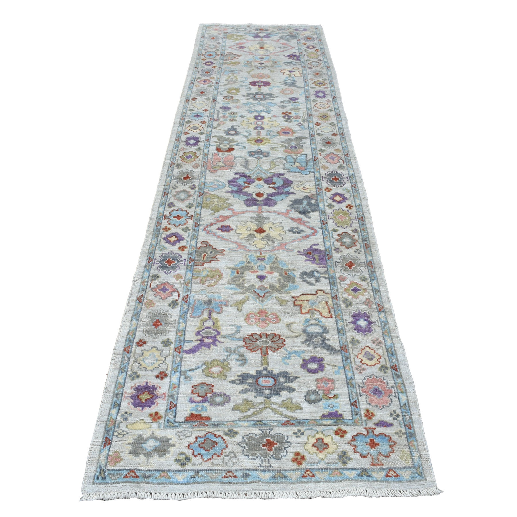 "3'X11'7"" Gray Angora Oushak With Pop Of Color Soft Velvety Wool Runner Hand Knotted Oriental Rug moaec6b9"
