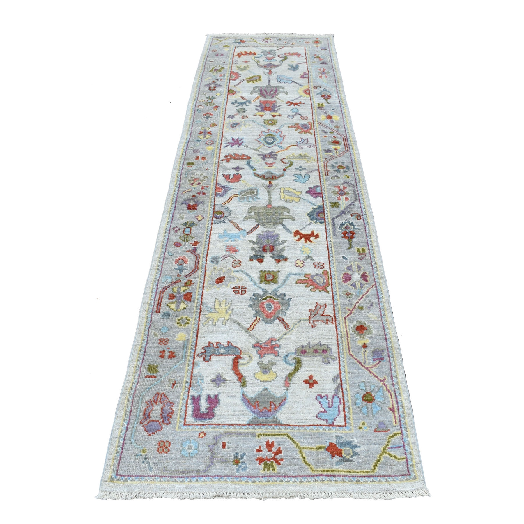 """2'8""""x9'8"""" Ivory Angora Oushak With Soft Velvety Wool Runner Hand Knotted Oriental Rug"""
