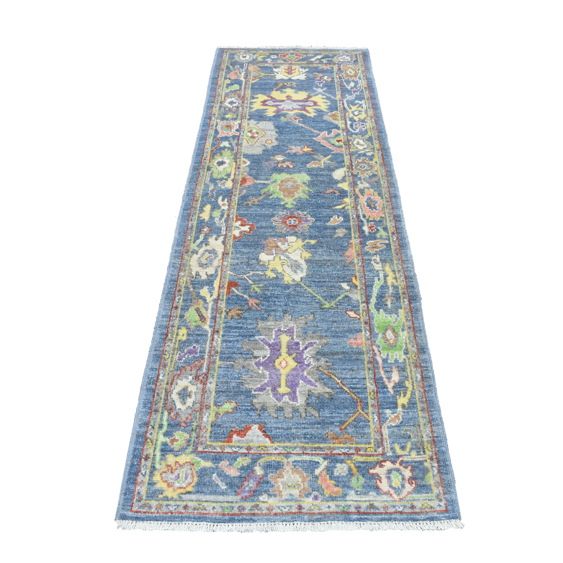 "2'9""X8' Blue Angora Oushak With Soft Velvety Wool Runner Hand Knotted Oriental Rug moaec6cb"