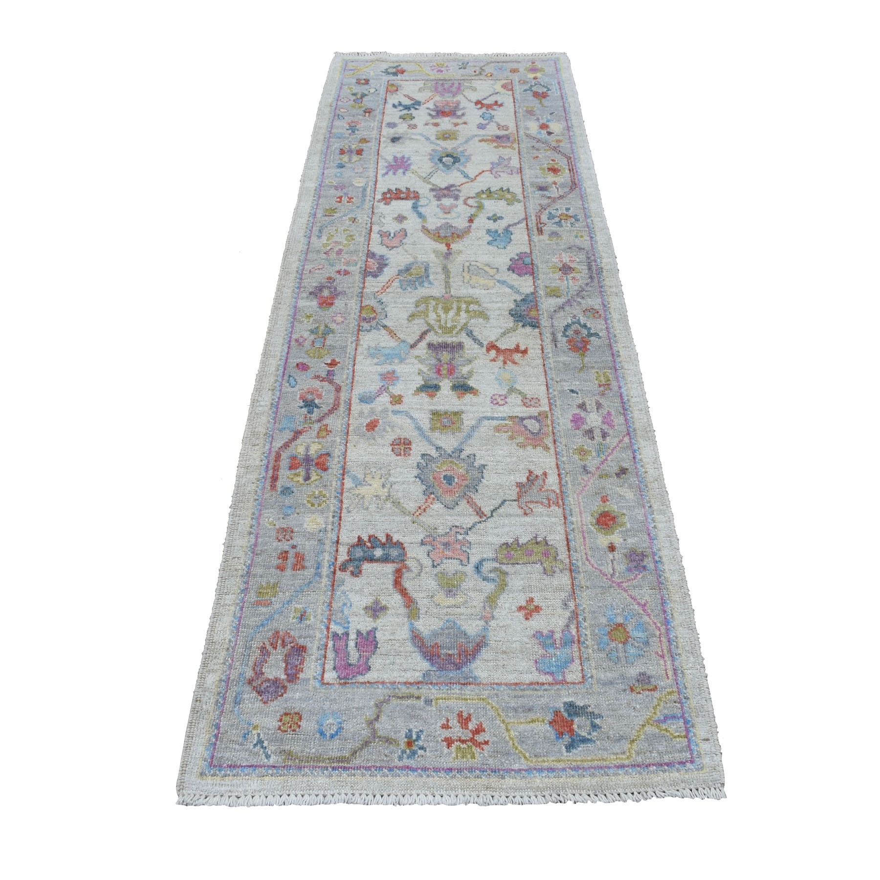 """2'9""""X8'4"""" Gray Angora Oushak With Soft Velvety Wool Runner Hand Knotted Oriental Rug moaec6cc"""