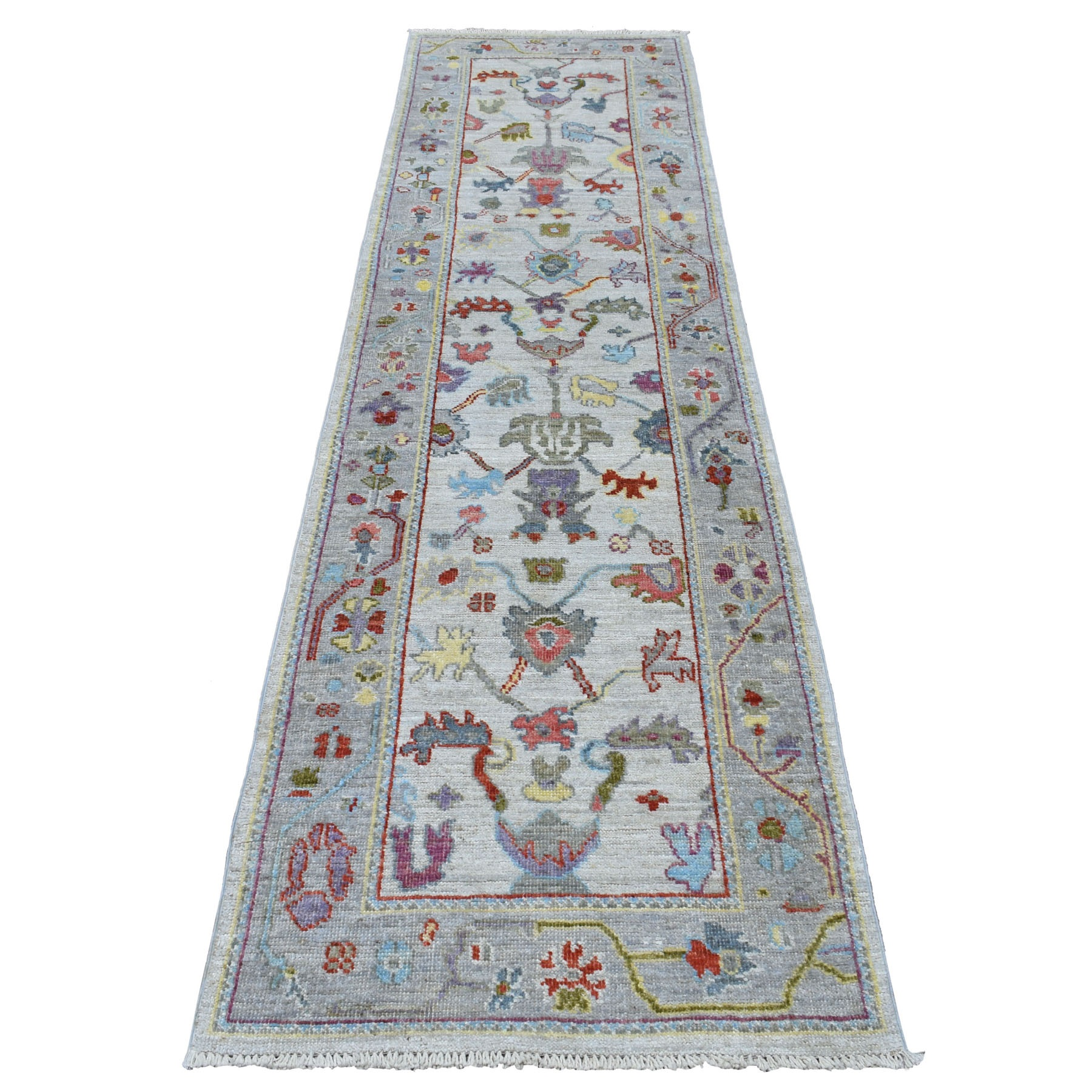"""2'6""""x9'8"""" Ivory Angora Oushak With Soft Velvety Wool Runner Hand Knotted Oriental Rug"""
