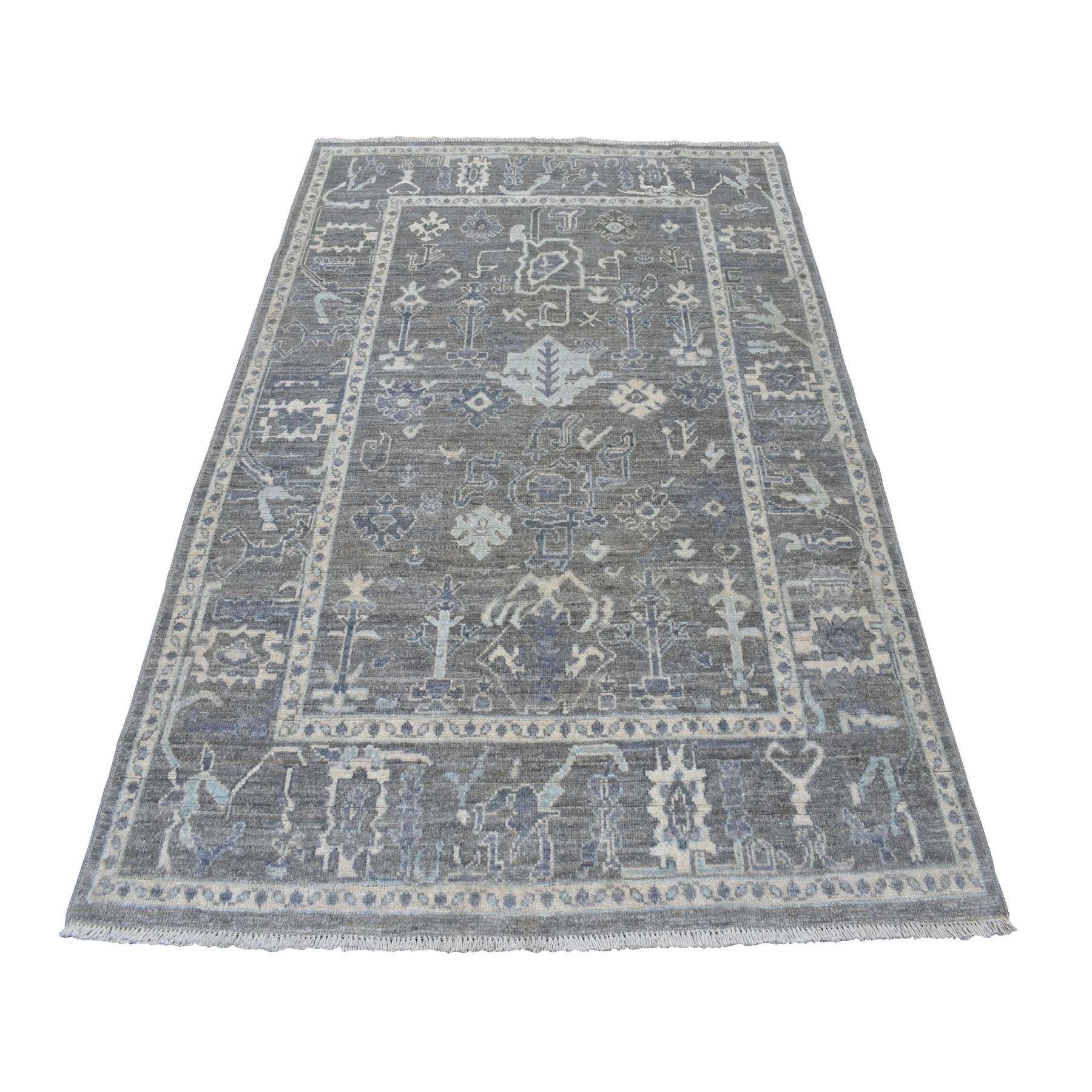 """5'1""""x7' Gray Angora Oushak With Soft Velvety wool Hand Knotted Oriental Rug"""