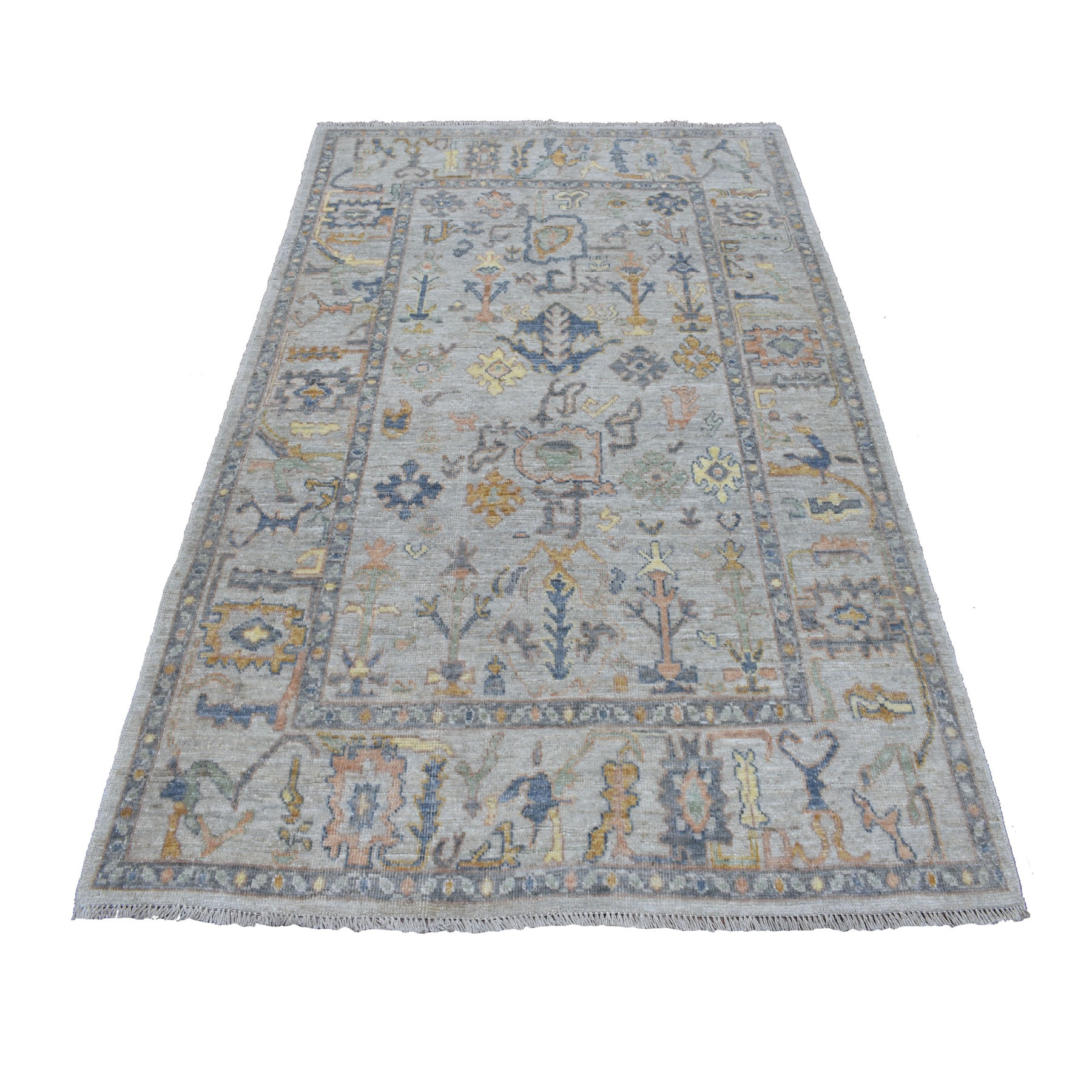 """4'9""""x7' Gray Angora Oushak With Soft Velvety Wool Hand Knotted Oriental Rug"""