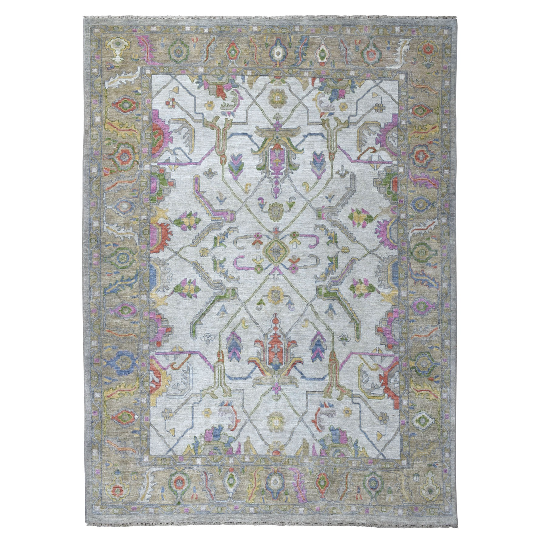 """9'x11'10"""" Ivory Angora Oushak With Soft Velvety wool Hand Knotted Oriental Rug"""
