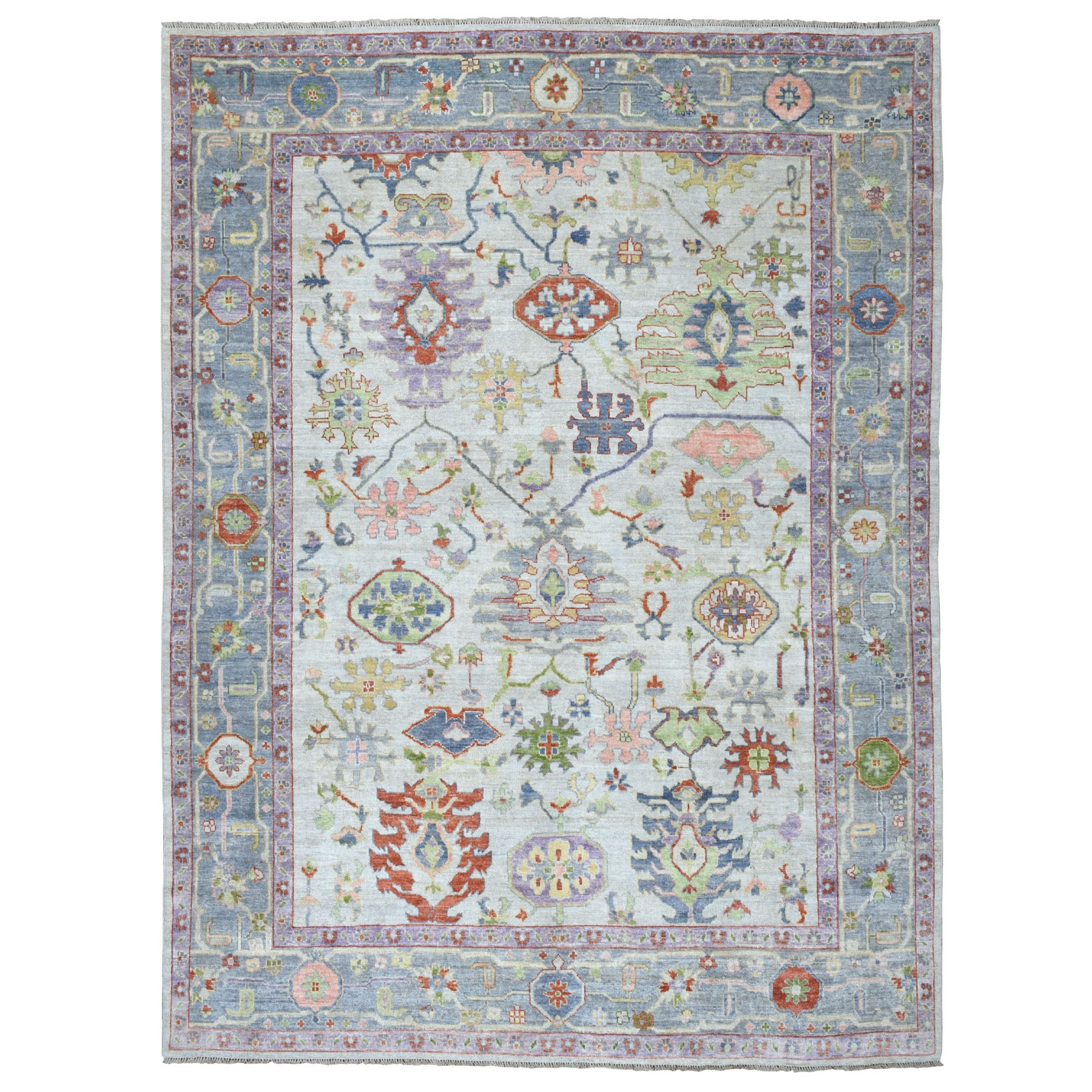 """9'x11'6"""" Ivory Angora Oushak With Soft Velvety wool Hand Knotted Oriental Rug"""