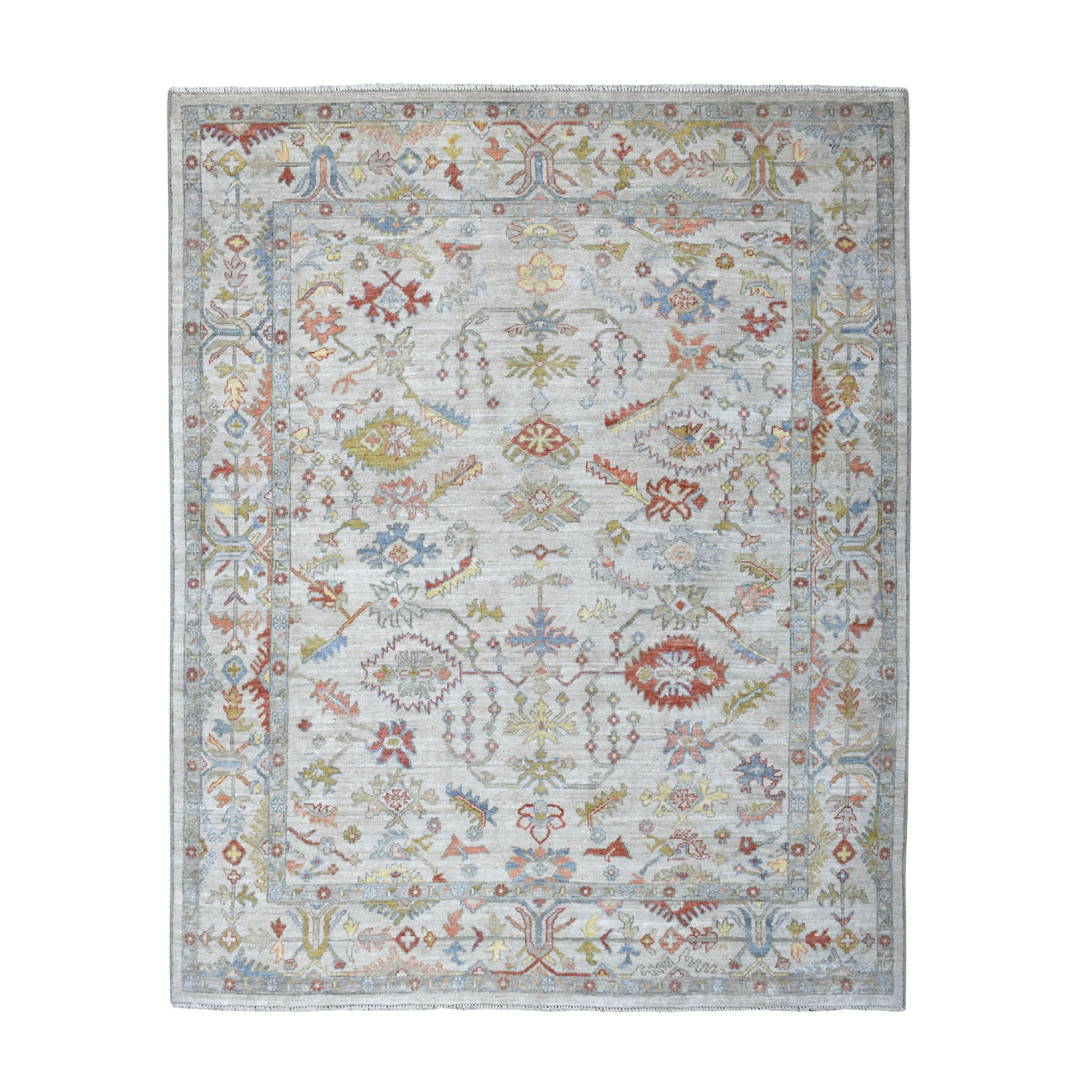 """8'x9'8"""" Gray Angora Oushak With Pop Of Color Soft Velvety wool Hand Knotted Oriental Rug"""