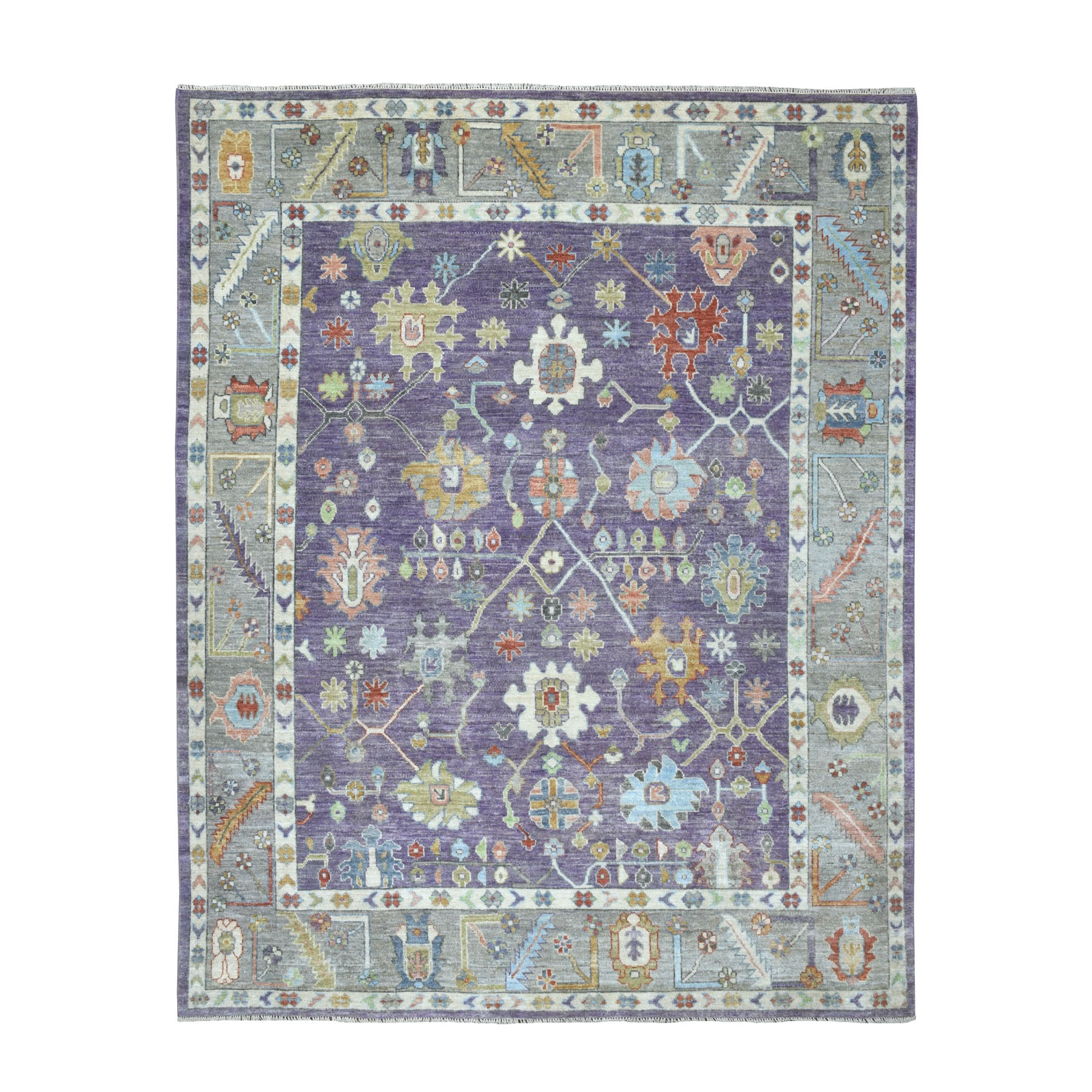 """8'1""""X10'3"""" Purple Angora Oushak With Pop Of Color Soft Velvety Wool Hand Knotted Oriental Rug moaec6dc"""