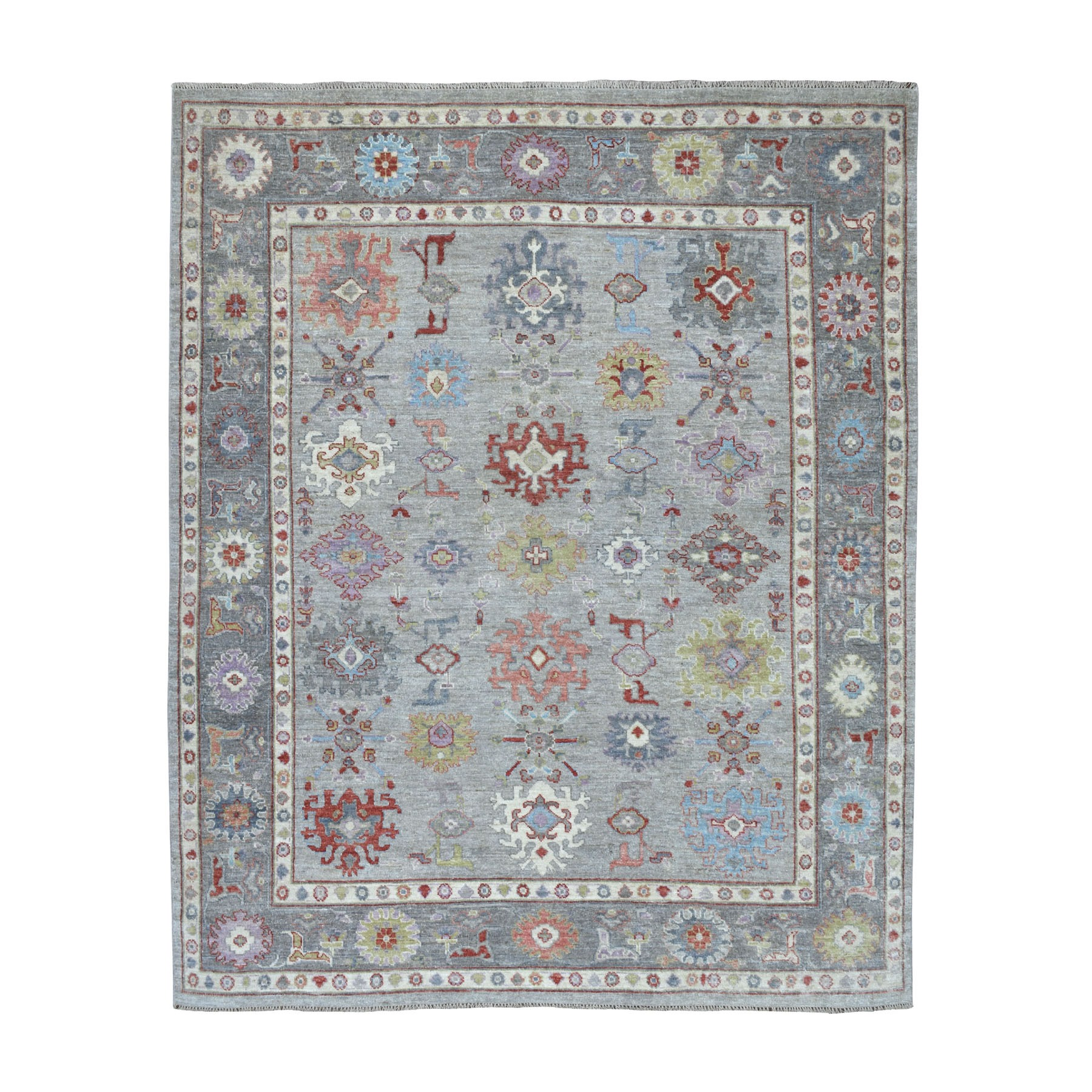 "7'8""X9'8"" Gray Angora Oushak Soft Velvety Wool Hand Knotted Oriental Rug moaec6dd"