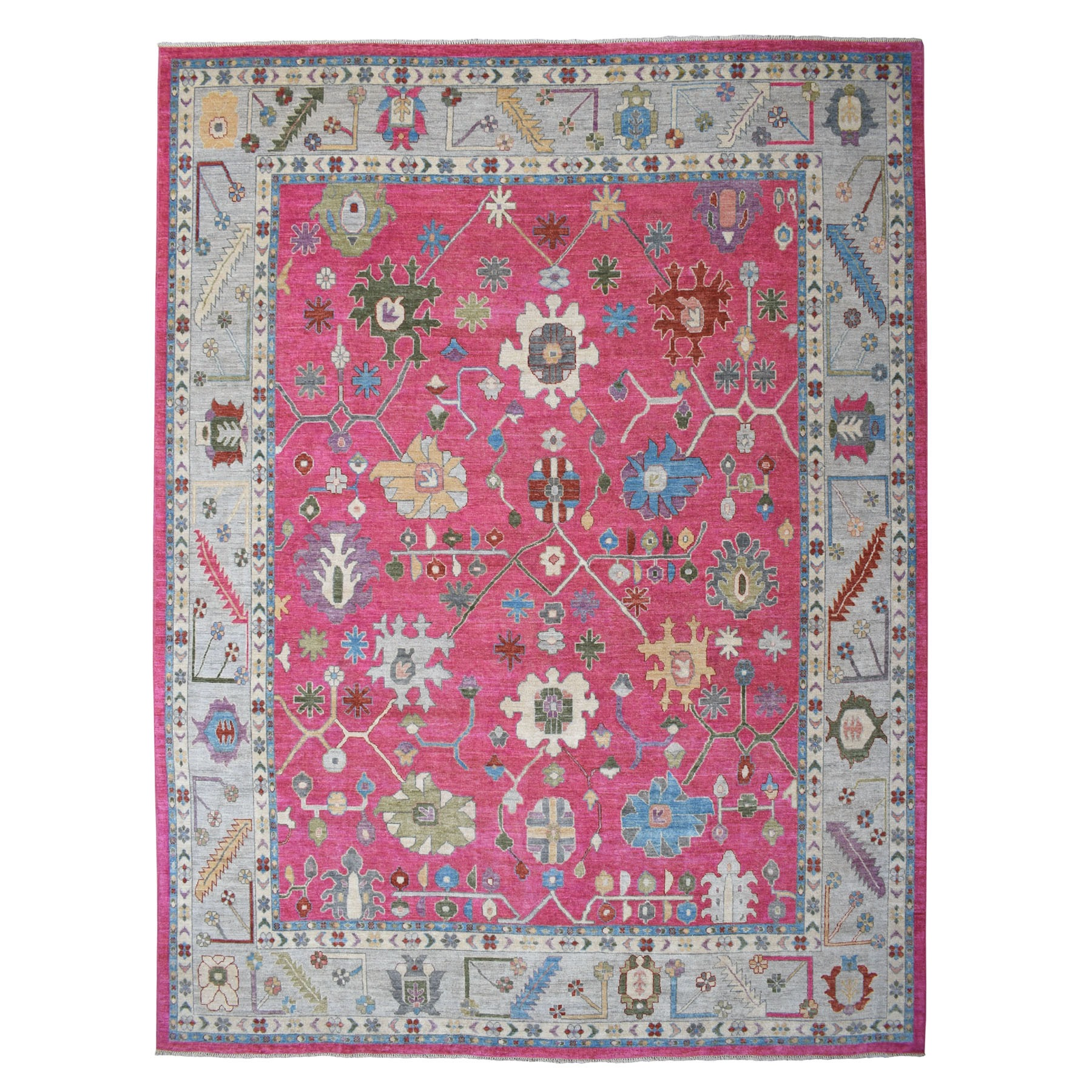 "11'10""X14'6"" Pink Oversized Angora Oushak Soft Velvety Wool Hand Knotted Oriental Rug moaec6d7"