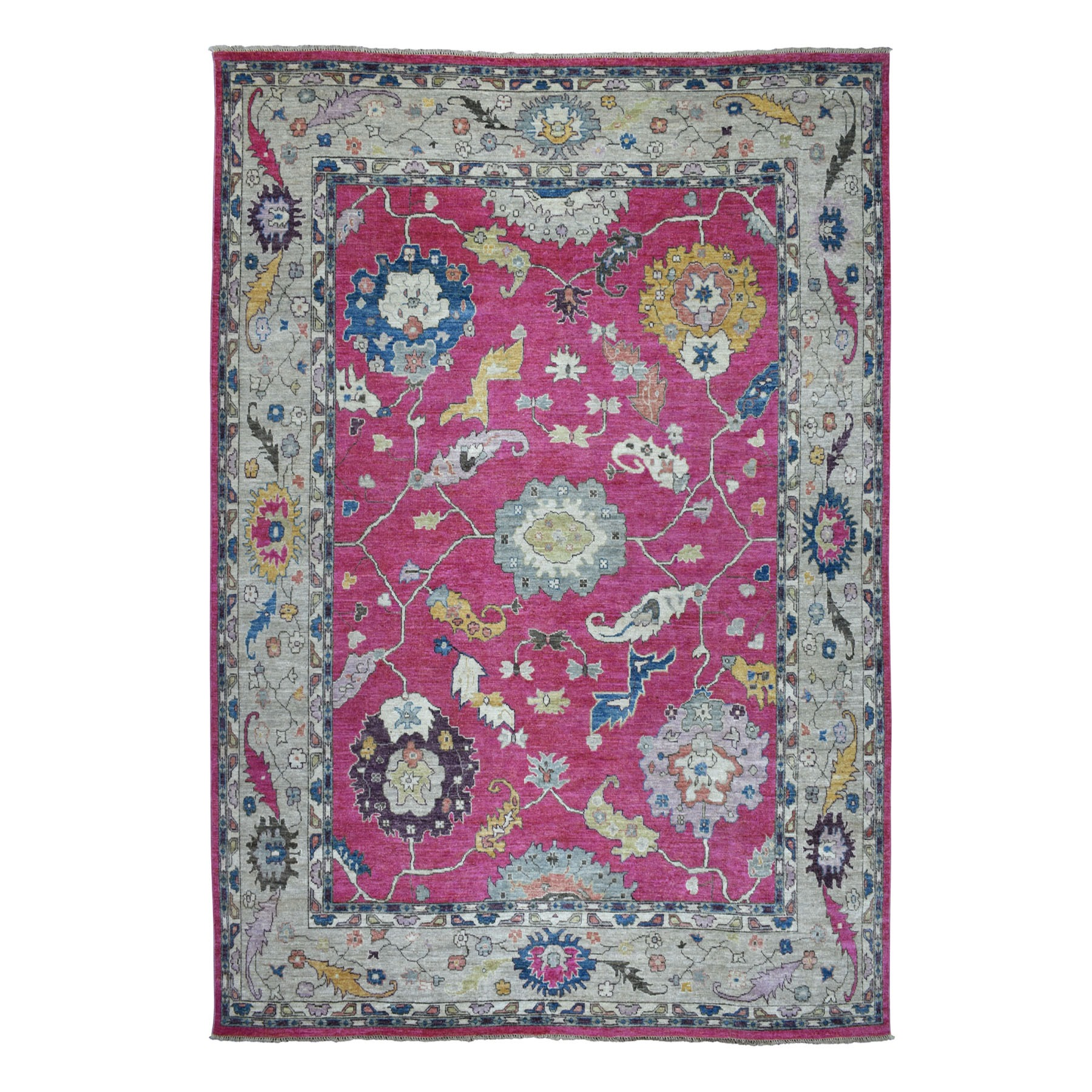 "9'9""X13'2"" Hot Pink Angora Oushak Soft Velvety Wool Hand Knotted Oriental Rug moaec6d9"