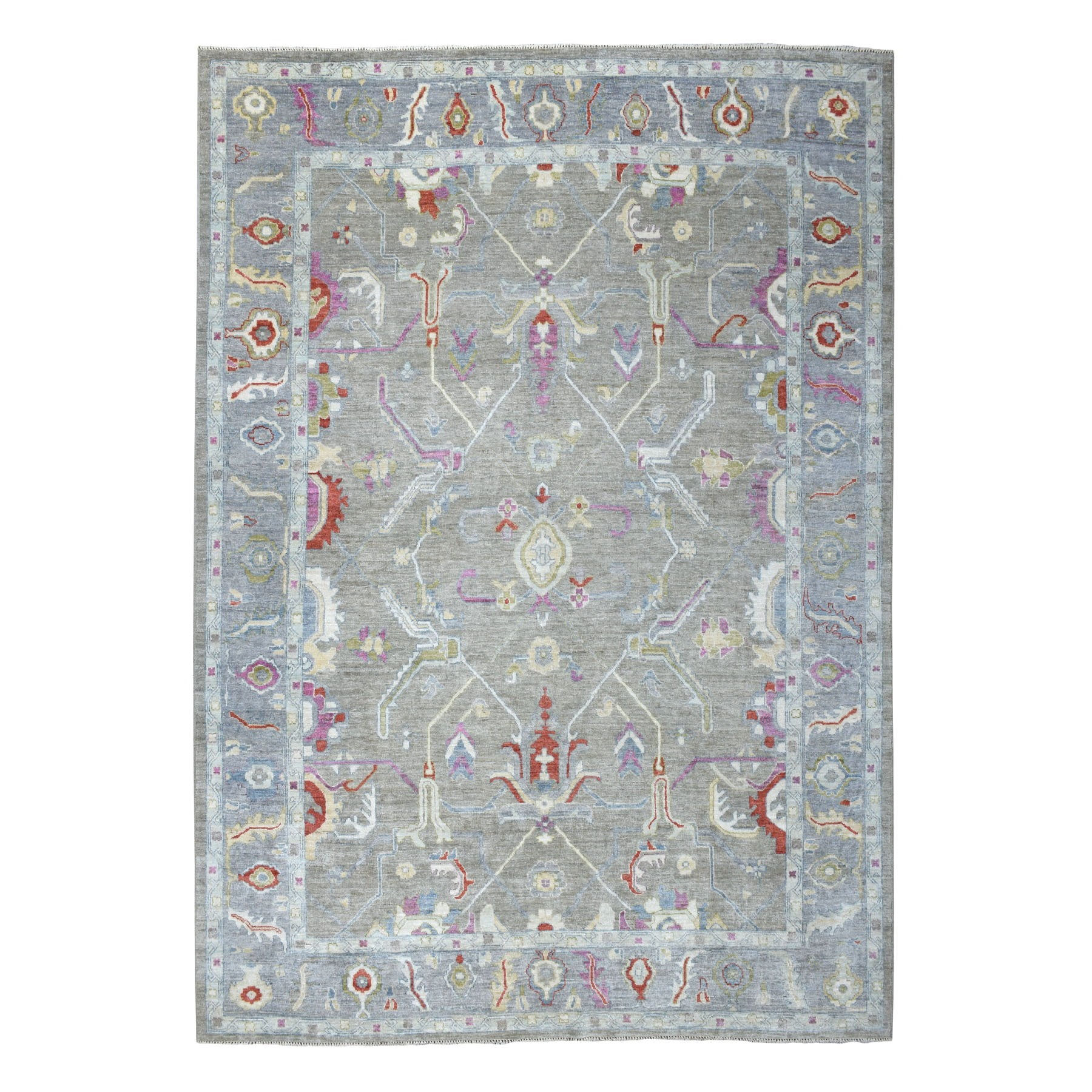 9'X12' Gray Angora Oushak Soft Velvety Wool Hand Knotted Oriental Rug moaec6eb