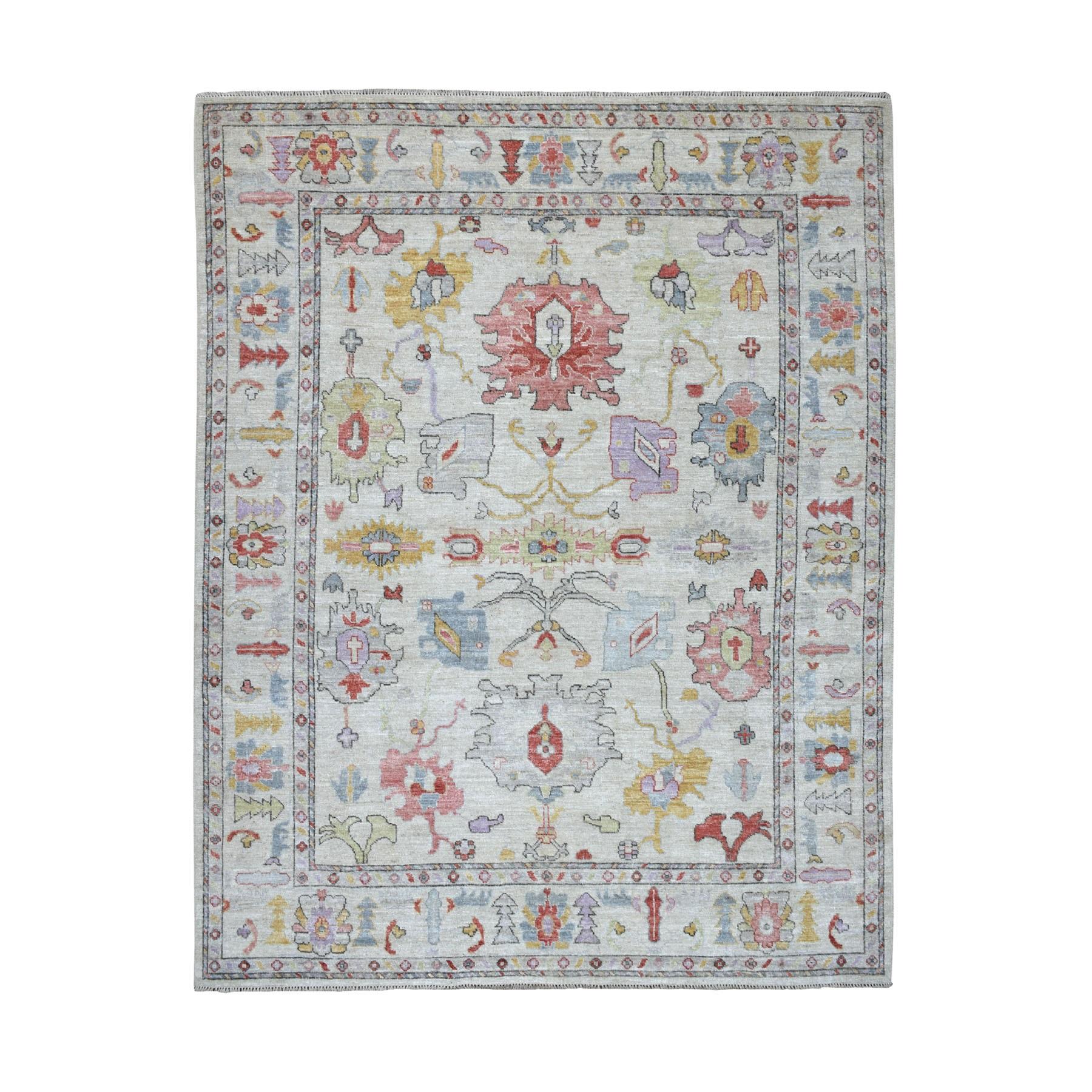 "8'x10'7"" Gray Angora Oushak Soft Velvety Wool Hand Knotted Oriental Rug"