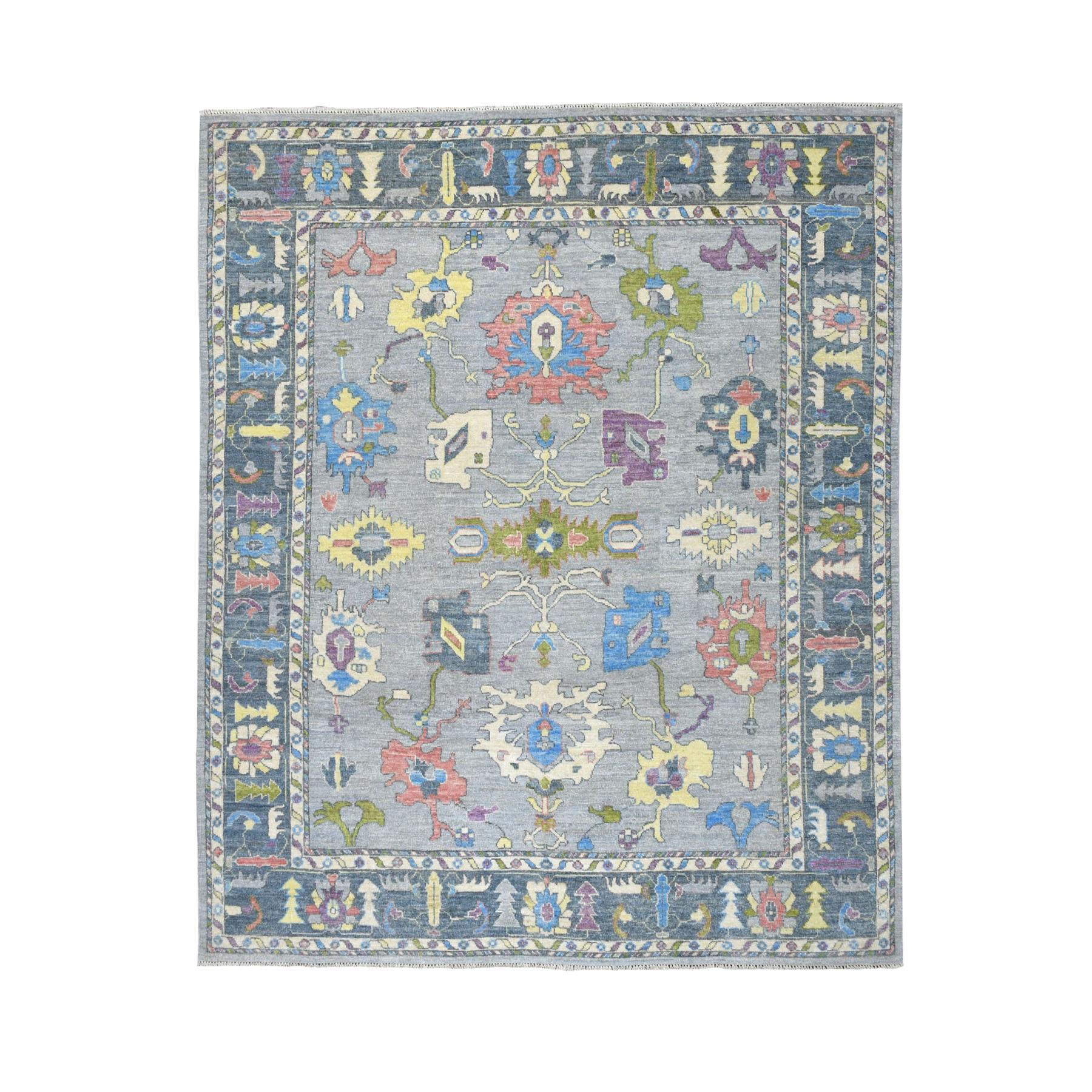 "8'x9'8"" Gray Angora Oushak Soft Velvety Wool Hand Knotted Oriental Rug"