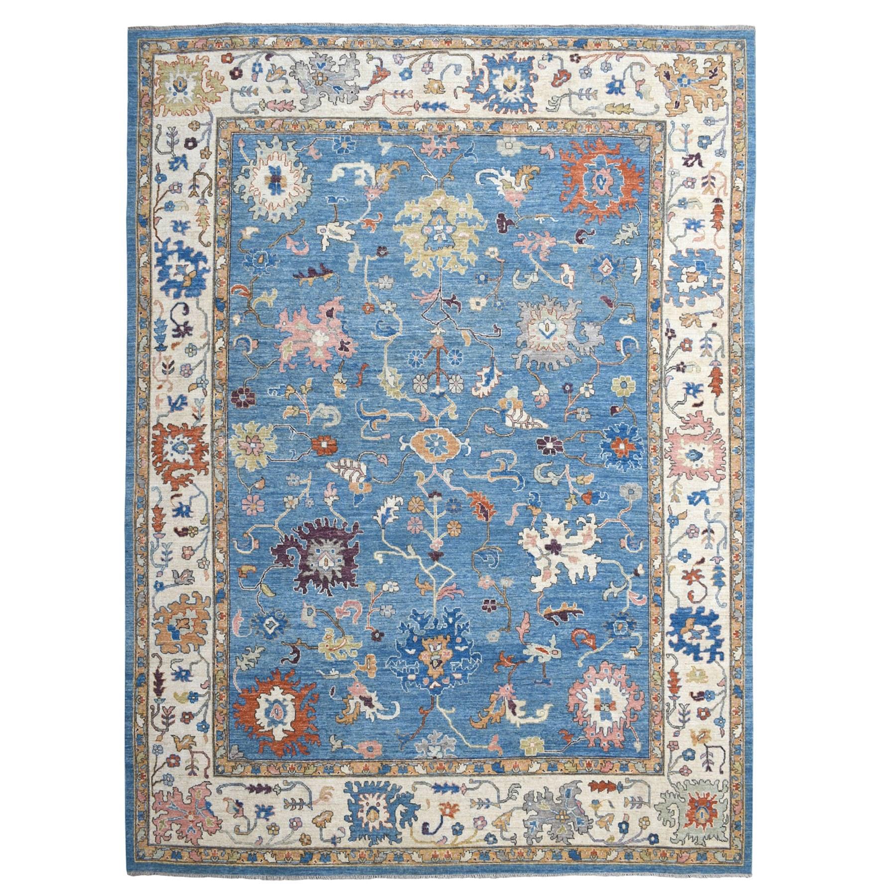 "11'10""X14'7"" Blue Oversized Angora Oushak Soft Velvety Wool Hand Knotted Oriental Rug moaec6e7"