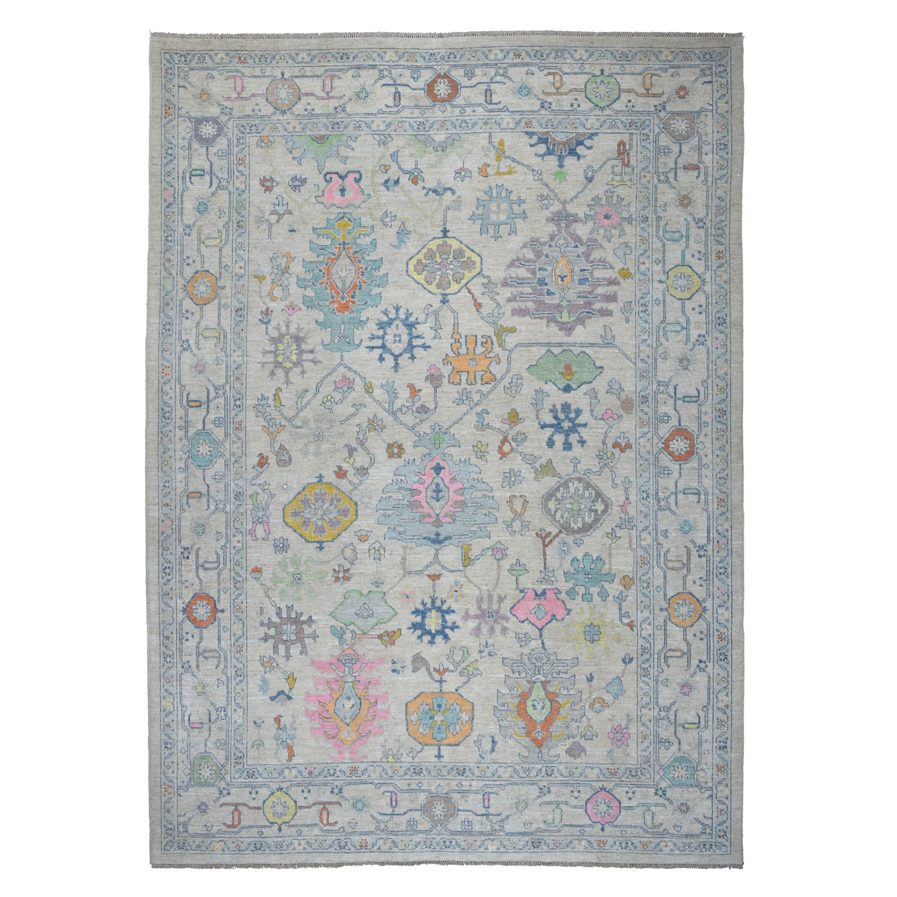 "10'2""X13'7"" Angora Oushak Soft Velvety Wool With Pop Of Color Hand Knotted Oriental Rug moaec6e9"