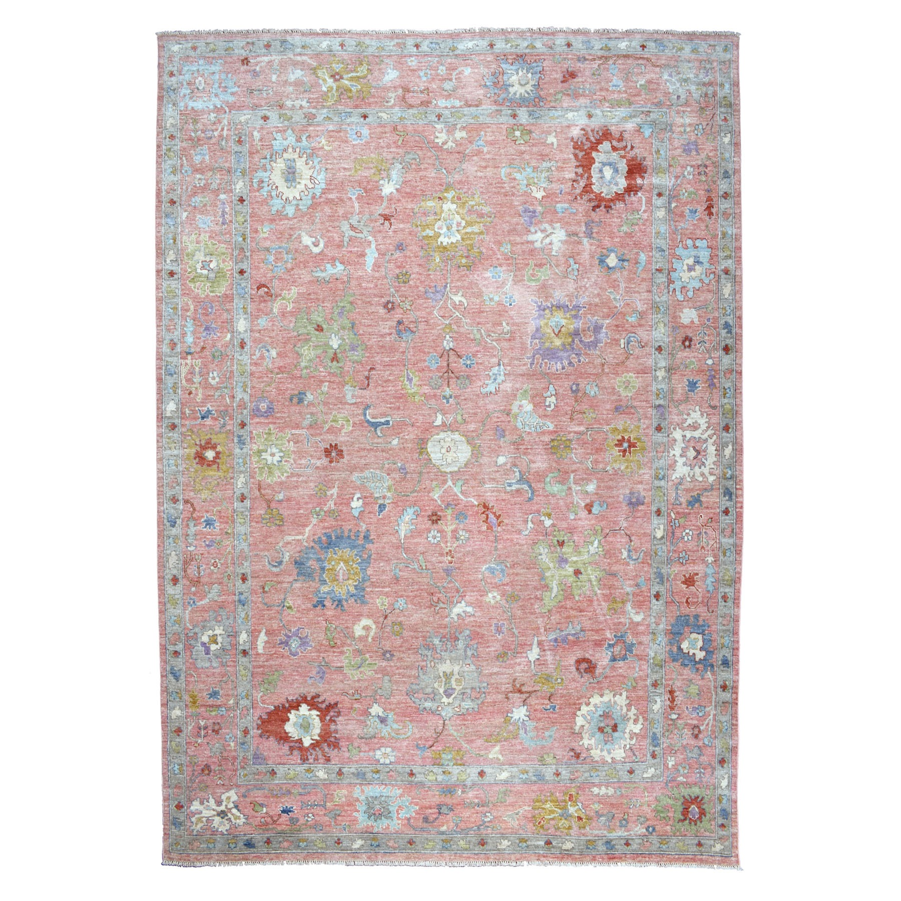 "10'3""X13'10"" Coral Angora Oushak Soft Velvety Wool Hand Knotted Oriental Rug moaec660"