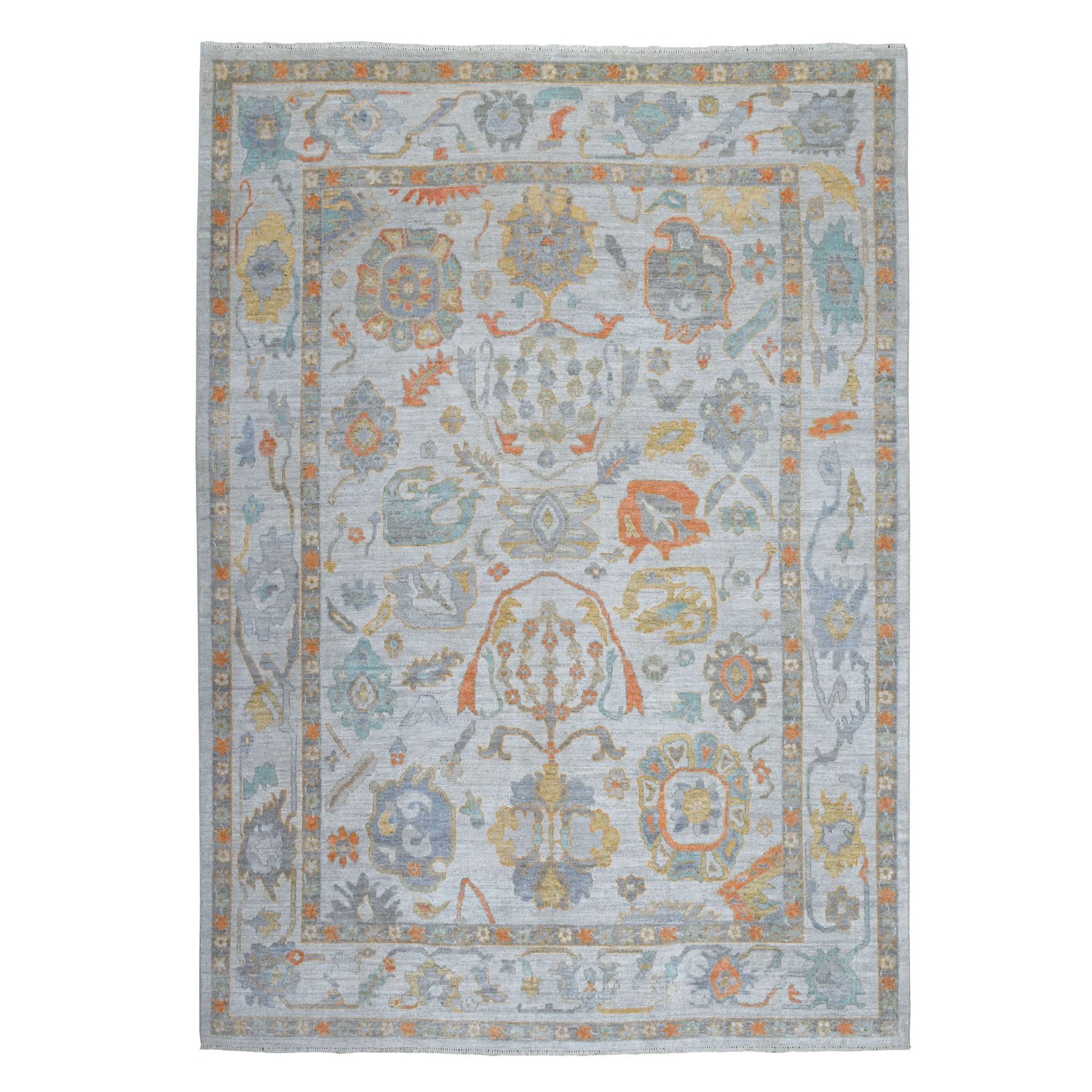 "9'1""X12'9"" Gray Angora Oushak Soft Velvety Wool Hand Knotted Oriental Rug moaec66b"