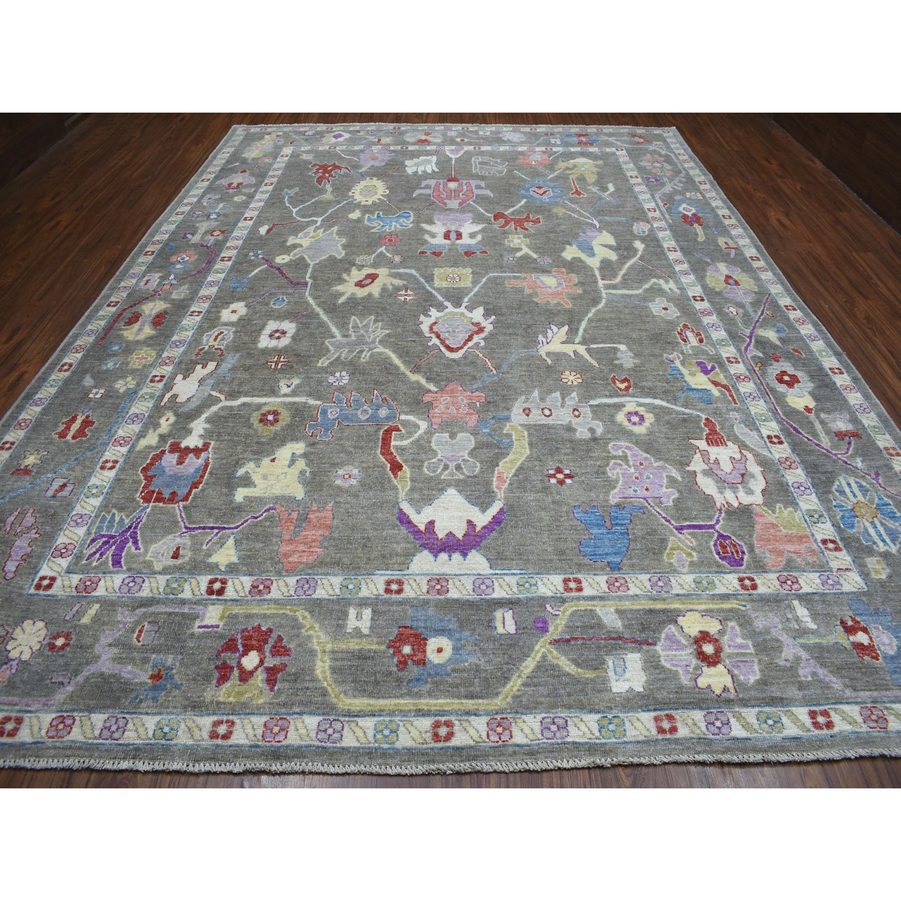 10-x13-7   Gray Angora Oushak Soft Velvety Wool Hand Knotted Oriental Rug