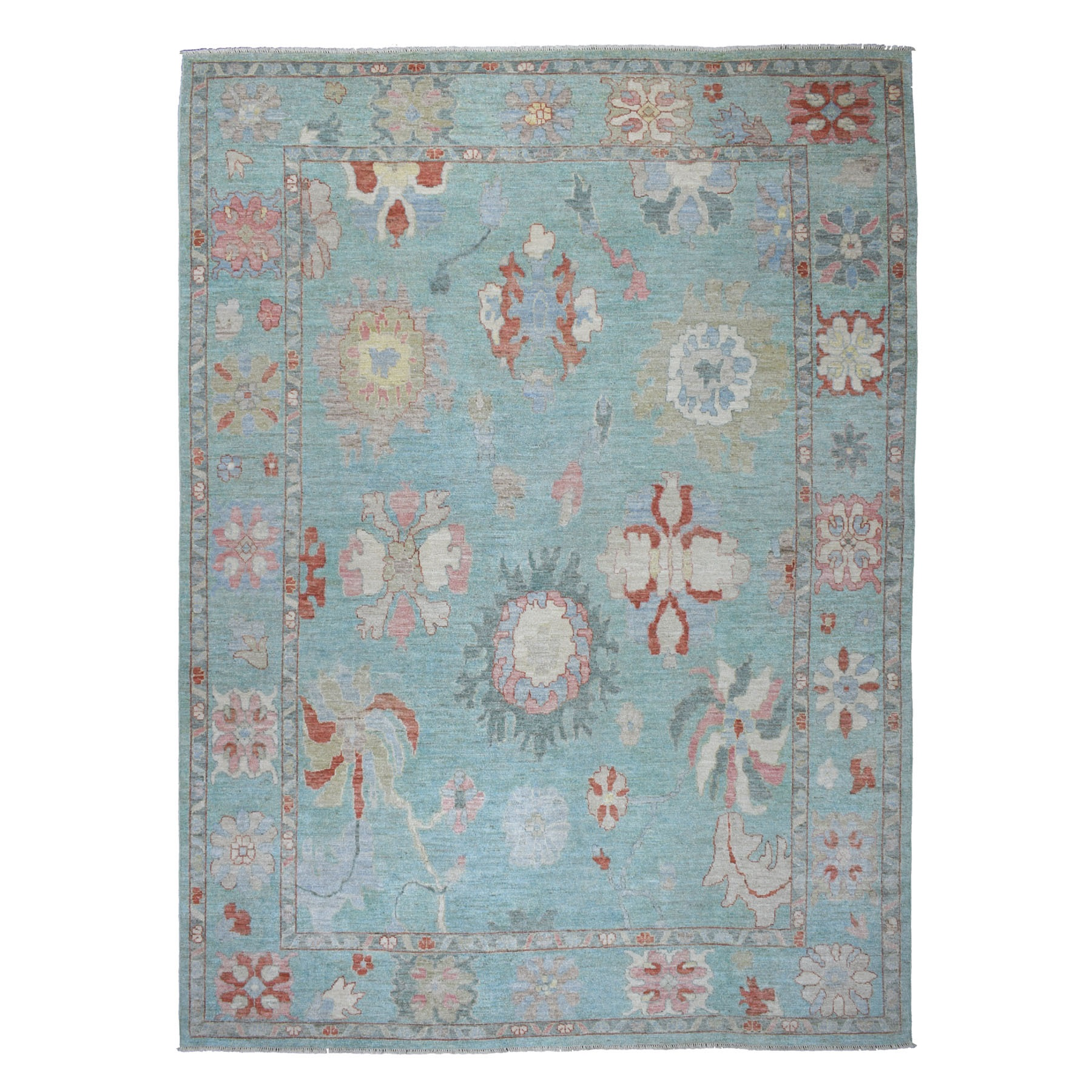 "10'X13'9"" Teal Blue Angora Oushak Soft Velvety Wool Hand Knotted Oriental Rug moaec669"