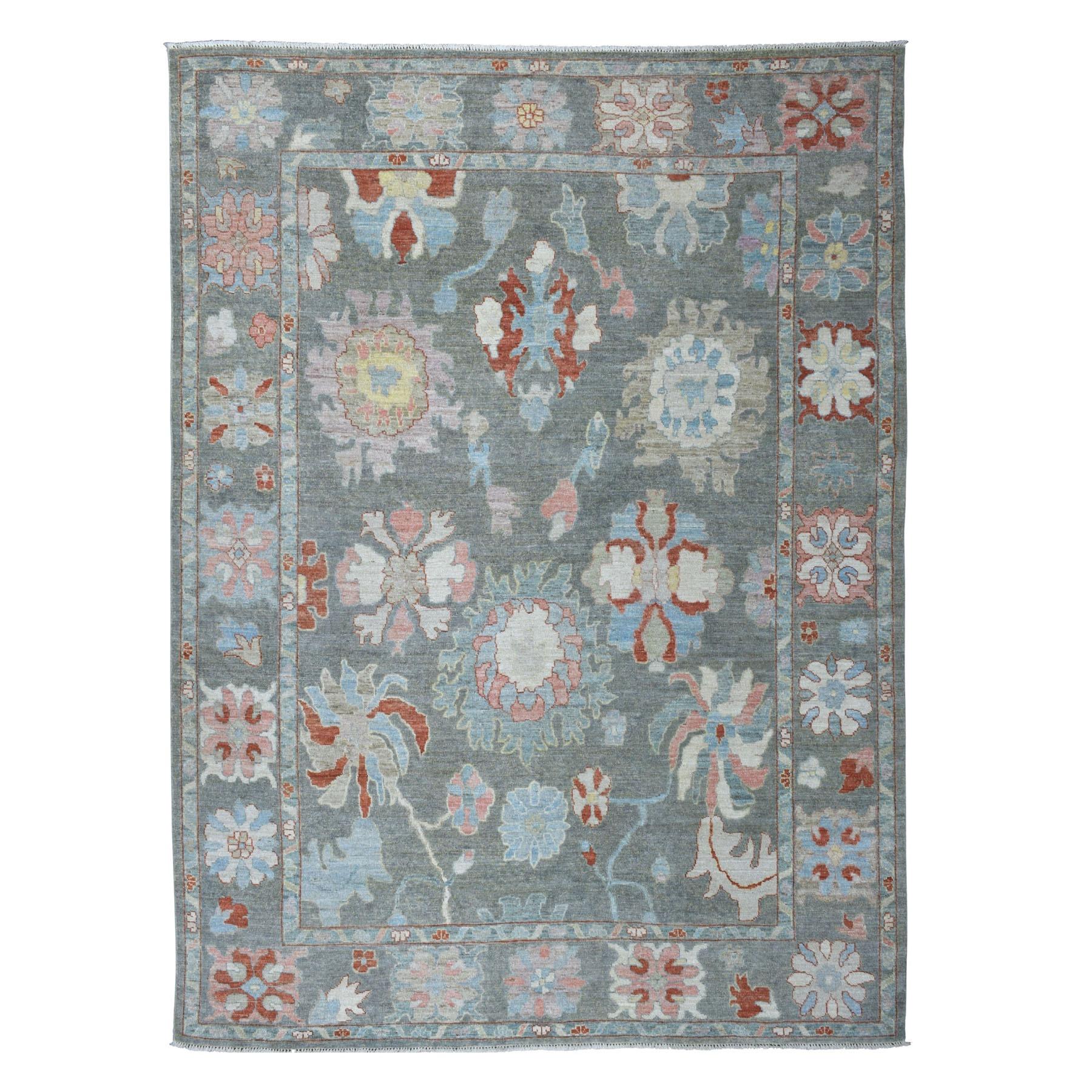 "8'8""X11'4"" Gray Angora Oushak Soft Velvety Wool Hand Knotted Oriental Rug moaec67c"