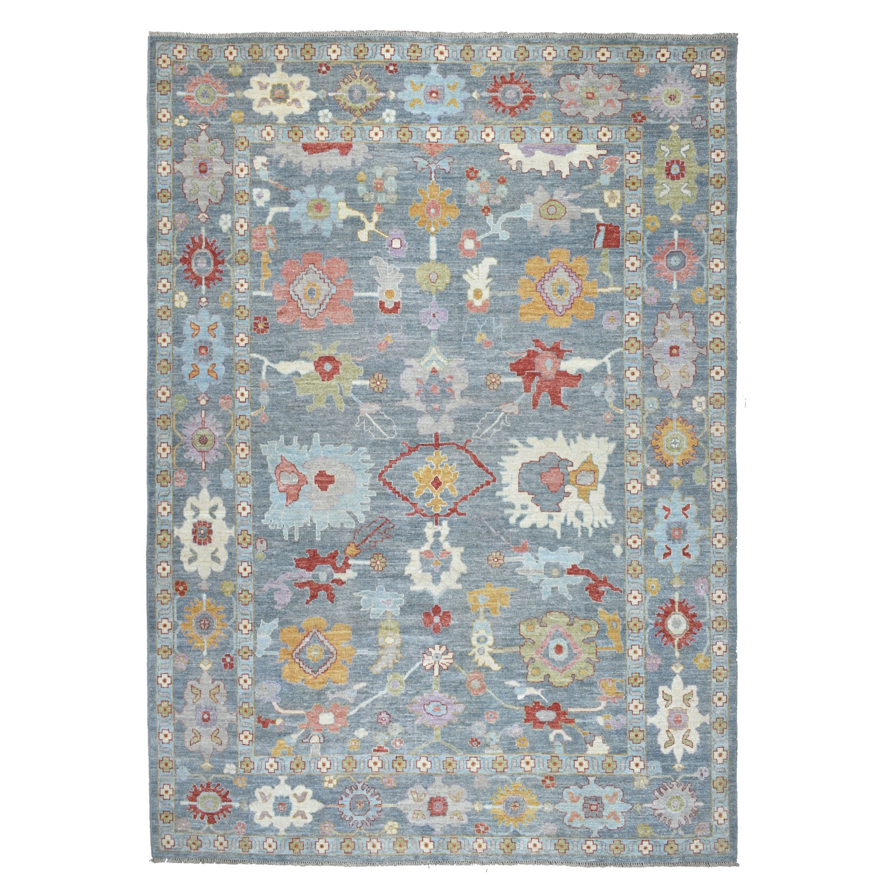 "9'10""x13'3"" Gray Angora Oushak With Soft Velvety wool Hand Knotted Oriental Rug"