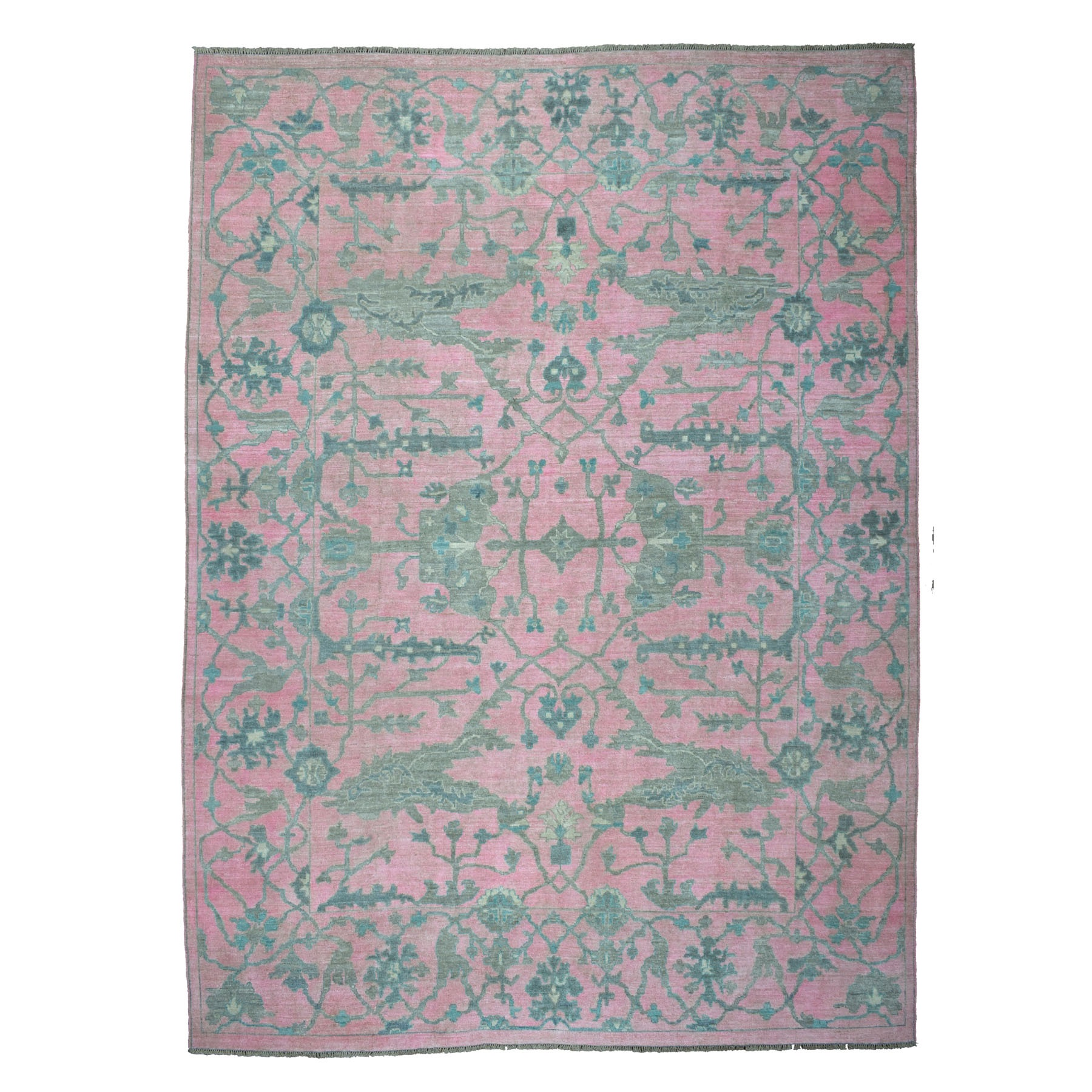 "10'X13'8"" Pink Angora Oushak With Soft Velvety Wool Hand Knotted Oriental Rug moaec68c"