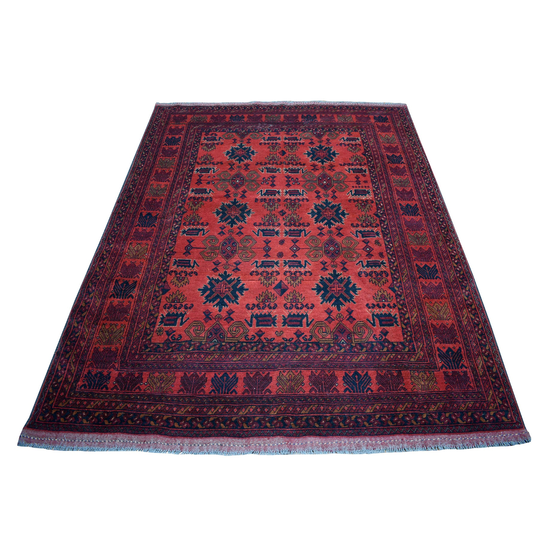 """5'8""""x7'3"""" Deep and Saturated Red Tribal Afghan Andkhoy Pure Wool Hand Knotted Oriental Rug 53687"""