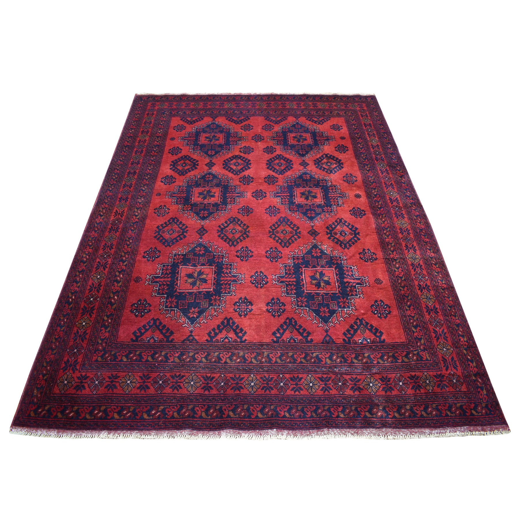 "5'7""X7'5"" Deep And Saturated Red Geometric Afghan Andkhoy Pure Wool Hand Knotted Oriental Rug moaec688"