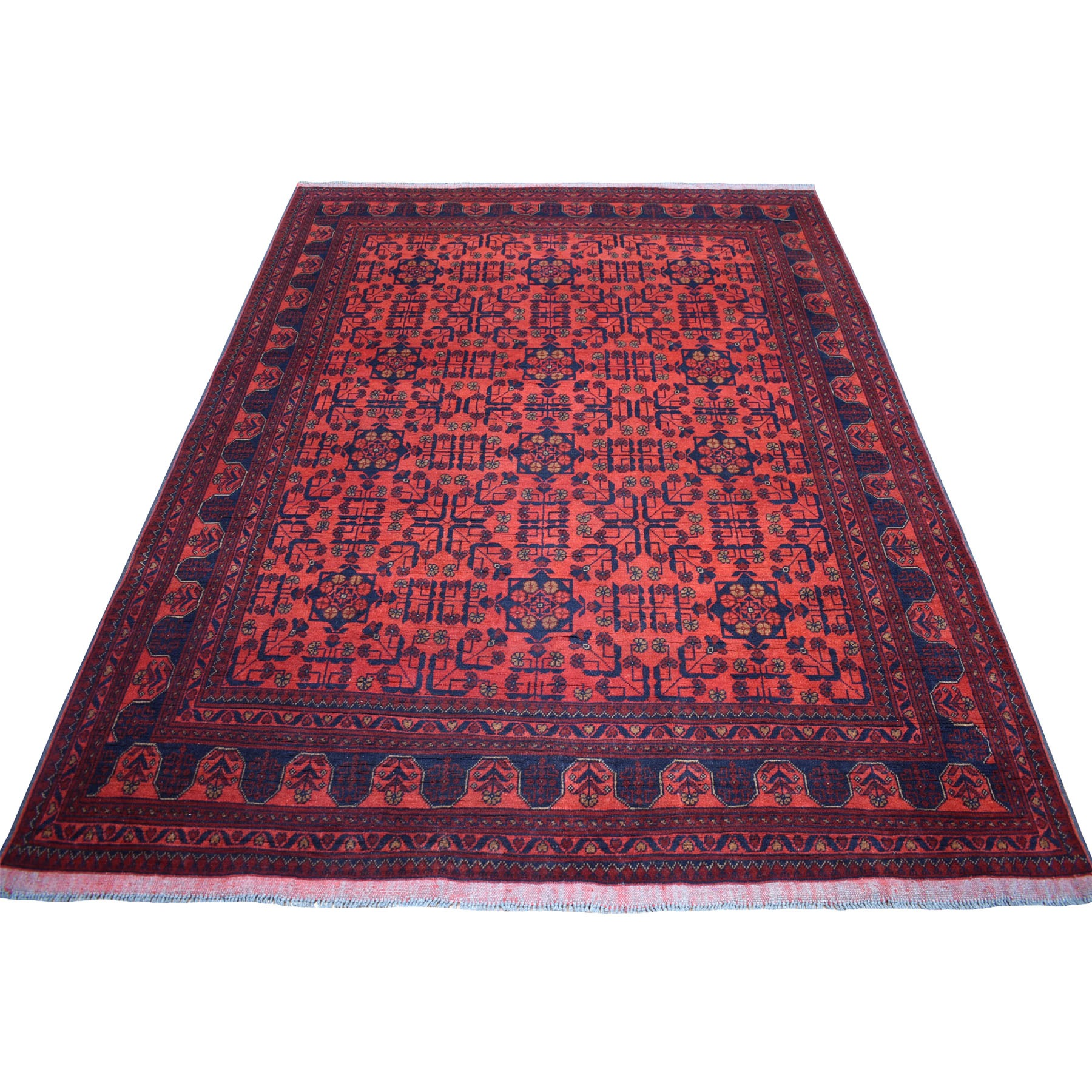 "5'10""X7'7"" Deep And Saturated Red Geometric Afghan Andkhoy Pure Wool Hand Knotted Oriental Rug moaec689"