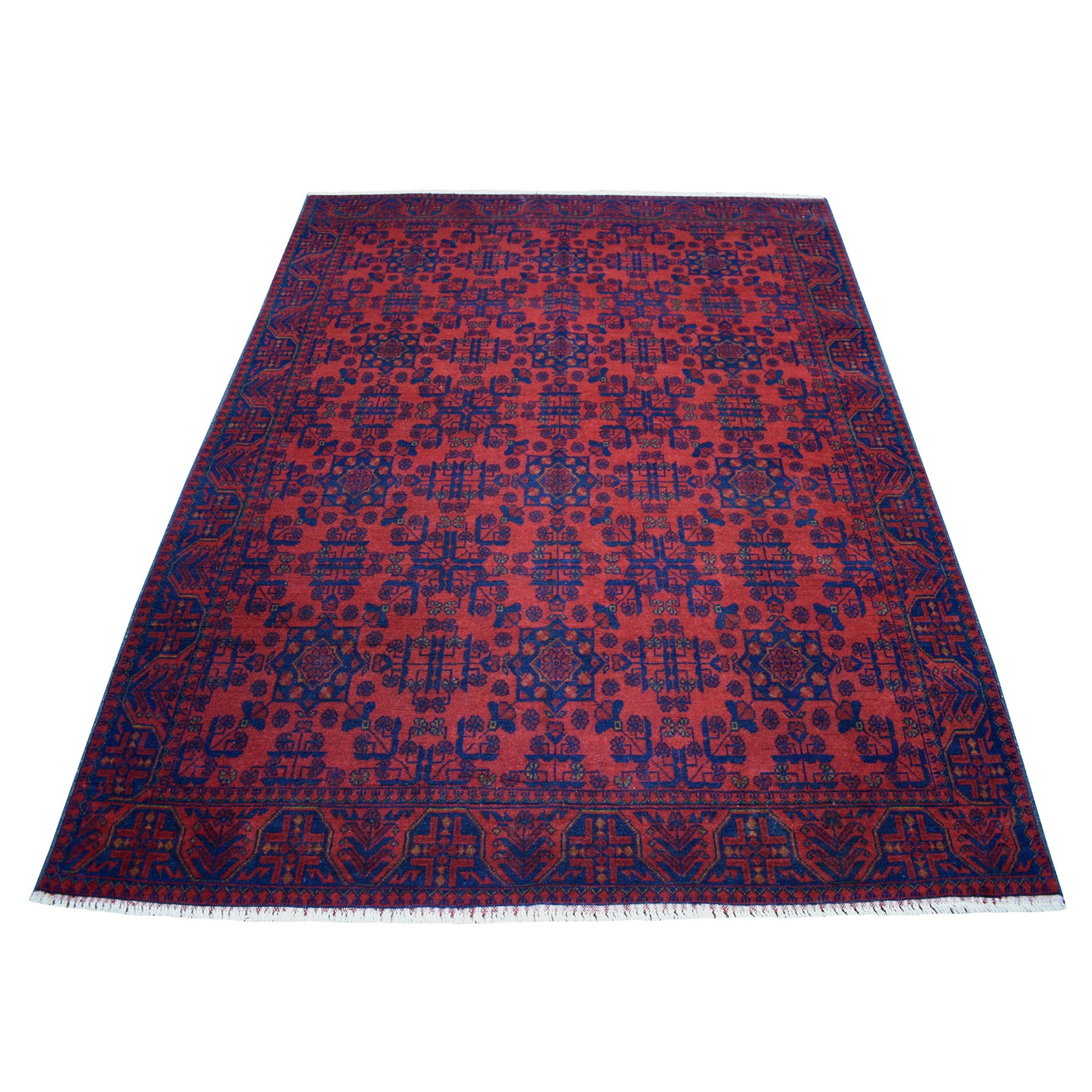 "5'9""X7'7"" Deep And Saturated Red Geometric Afghan Andkhoy Pure Wool Hand Knotted Oriental Rug moaec69a"