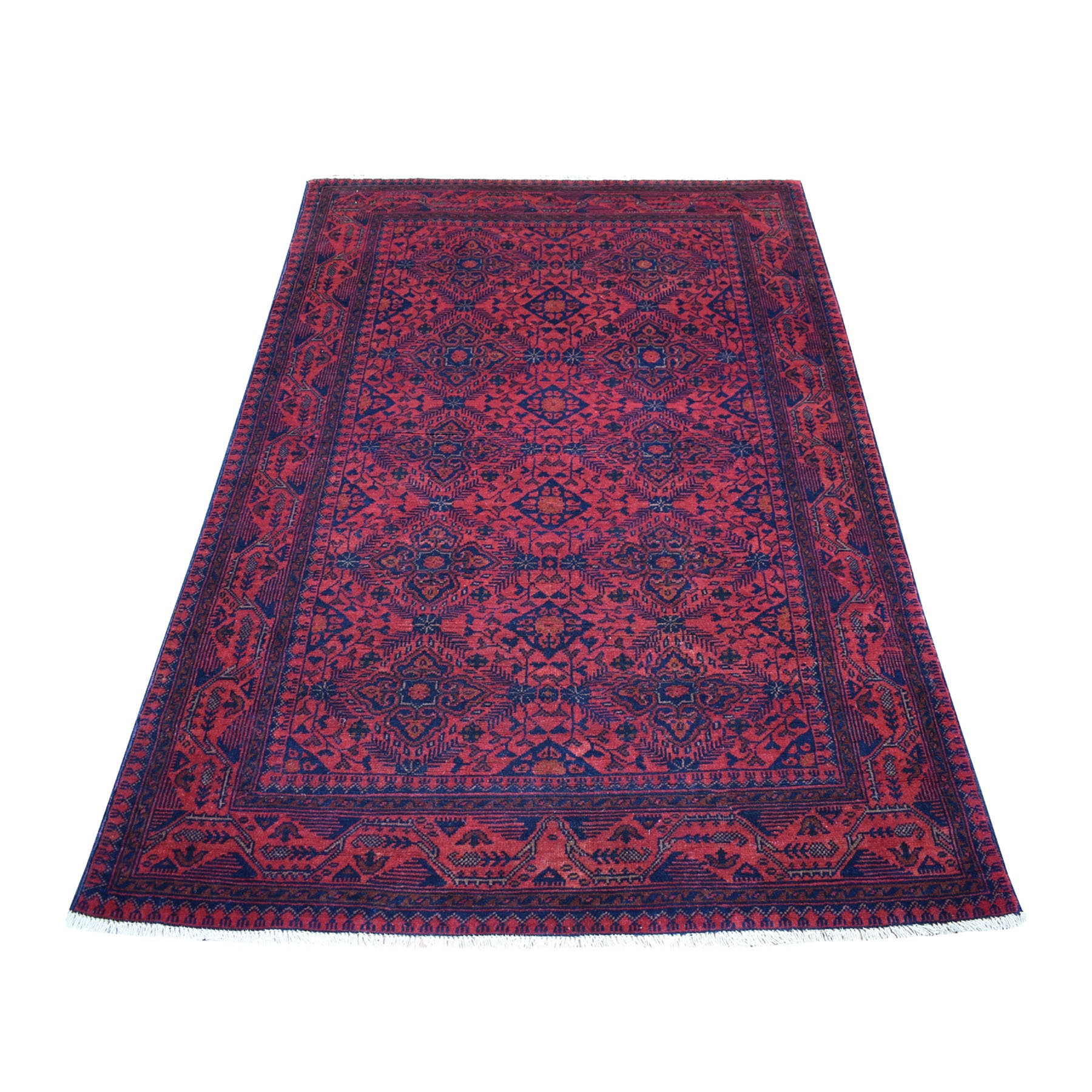 "4'X6'4"" Deep And Saturated Red Geometric Afghan Andkhoy Pure Wool Hand Knotted Oriental Rug moaec69b"