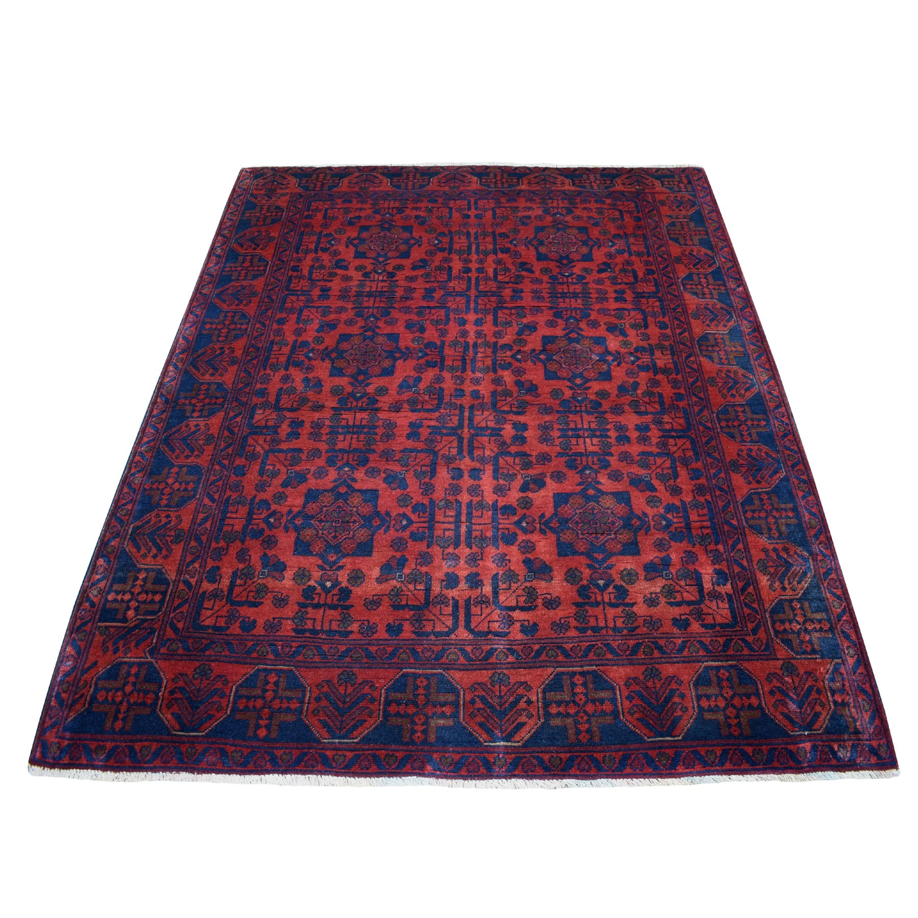 """5'1""""x6'6"""" Deep and Saturated Red Geometric Afghan Andkhoy Pure Wool Hand Knotted Oriental Rug 53696"""