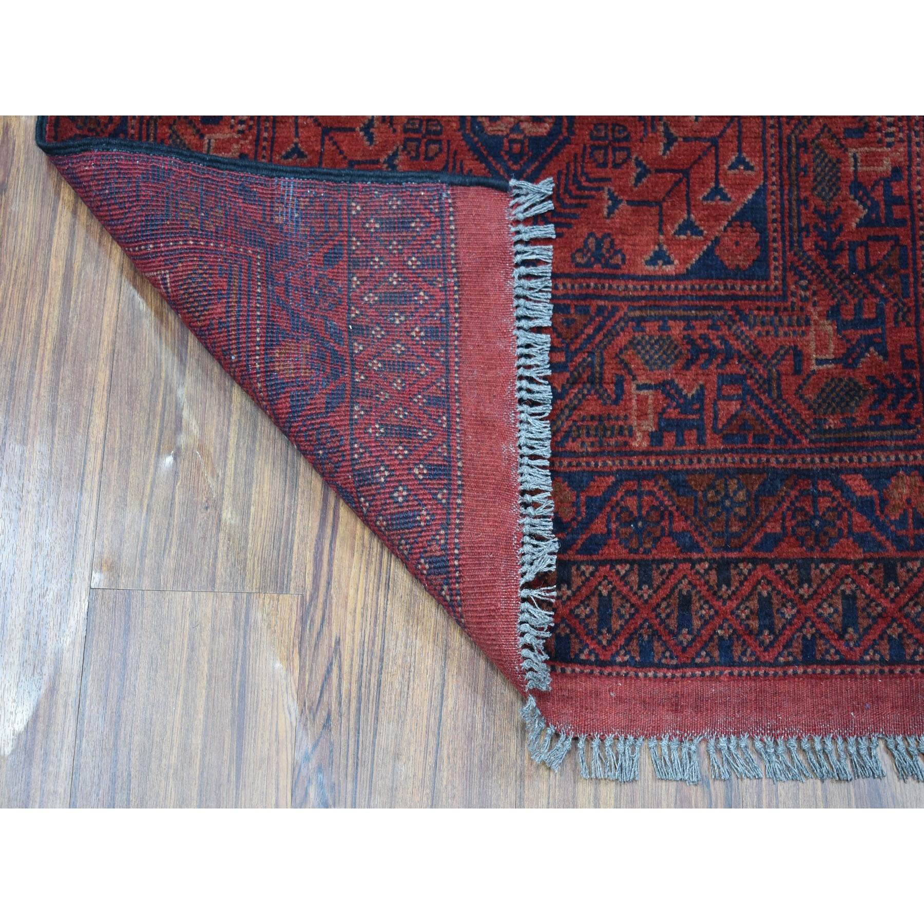 2-4 x6-5  Deep and Saturated Red Geometric Afghan Andkhoy Runner Pure Wool Hand Knotted Oriental Rug