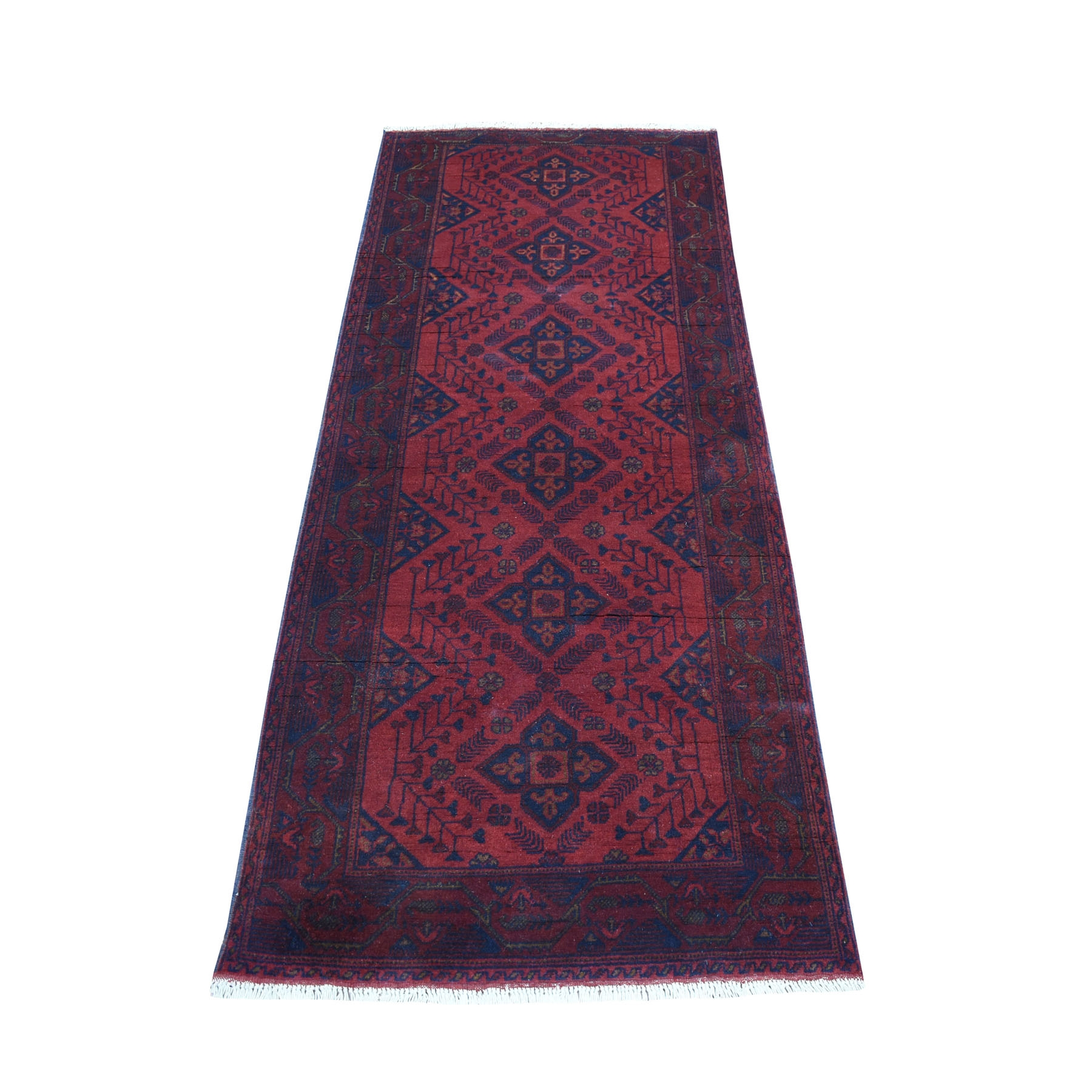 """2'7""""X6'5"""" Deep And Saturated Red Geometric Afghan Andkhoy Runner Pure Wool Hand Knotted Oriental Rug moaec70d"""