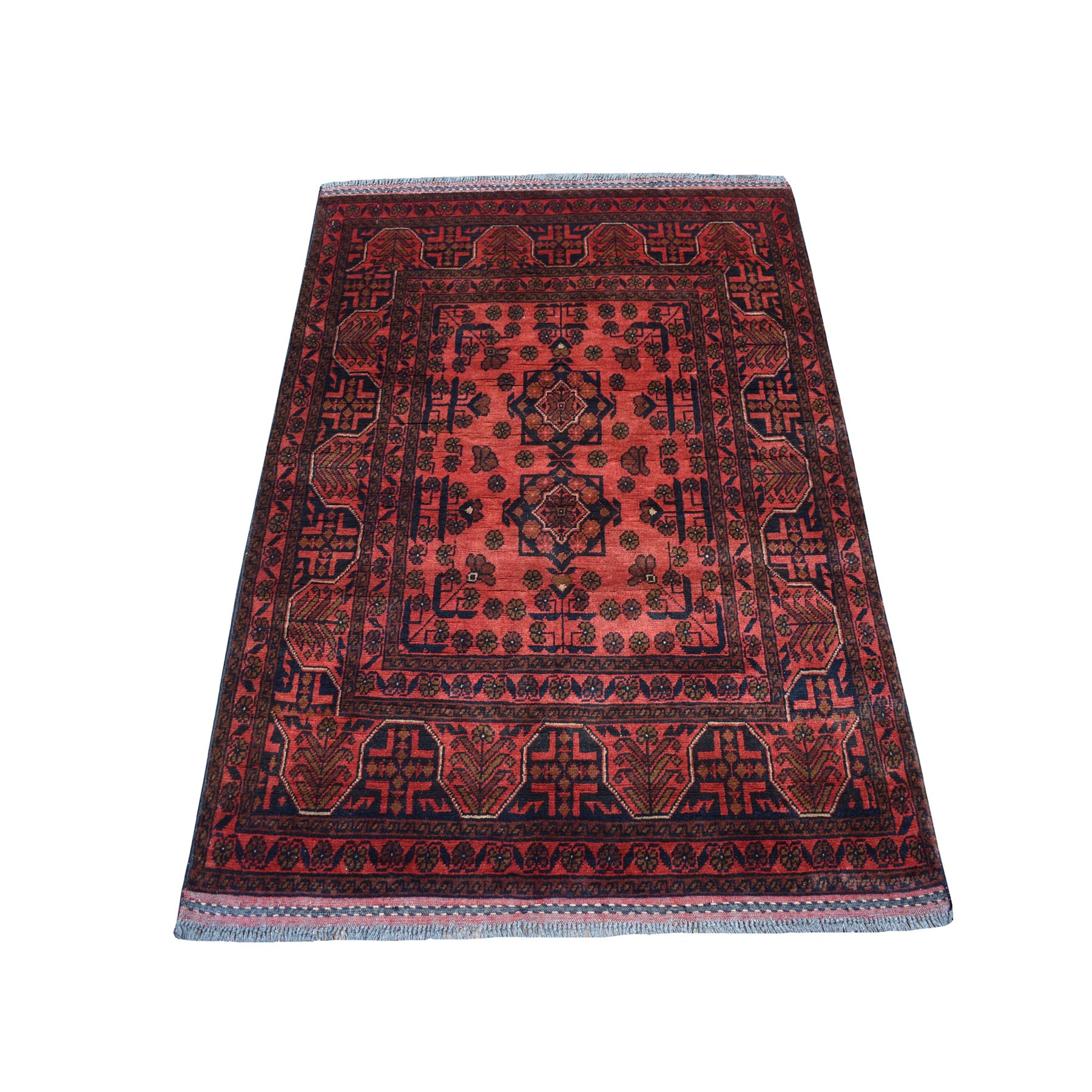 """3'3""""X4'8"""" Deep And Saturated Red Geometric Afghan Andkhoy Pure Wool Hand Knotted Oriental Rug moaec706"""