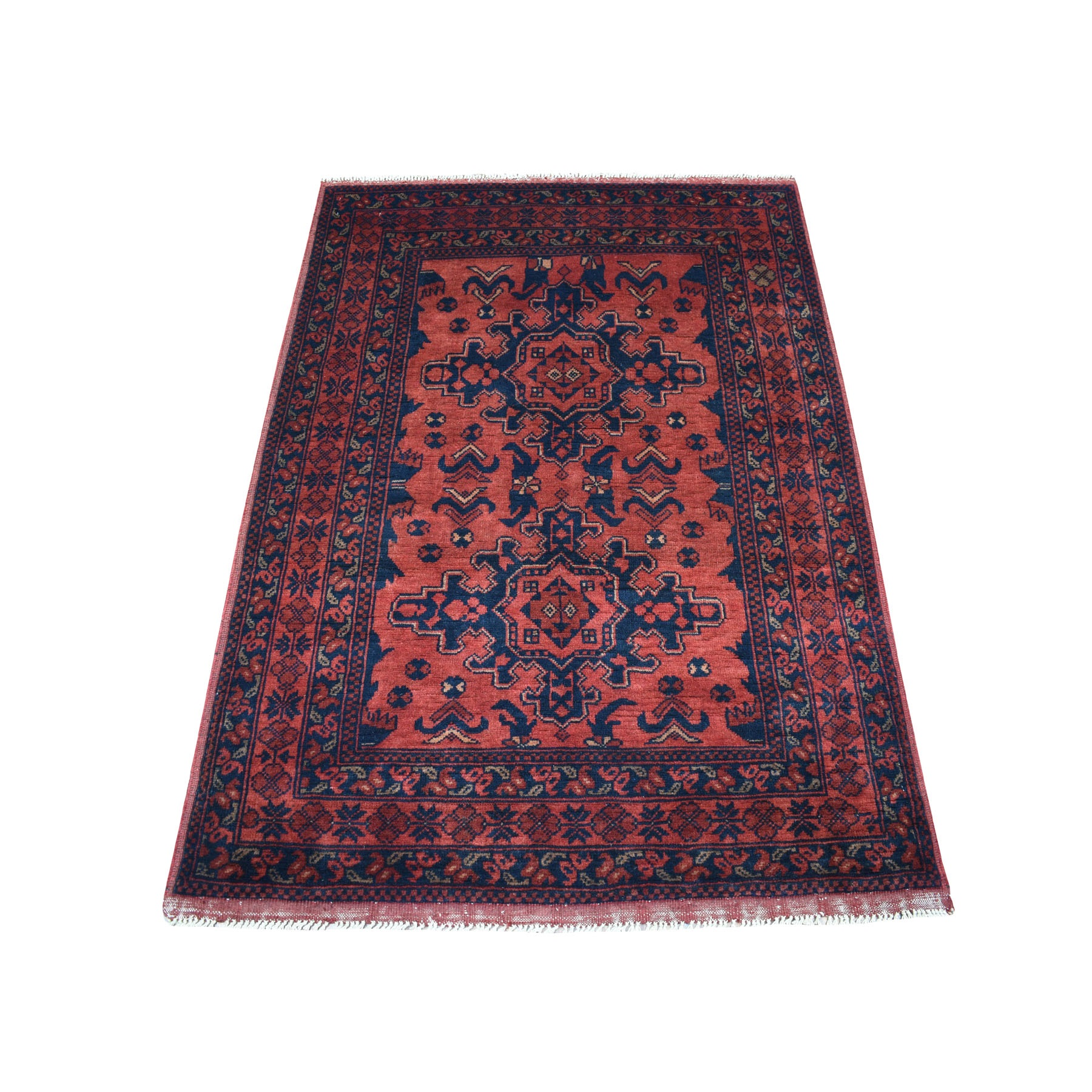 """3'3""""X4'8"""" Deep And Saturated Red Tribal Afghan Andkhoy Pure Wool Hand Knotted Oriental Rug moaec707"""