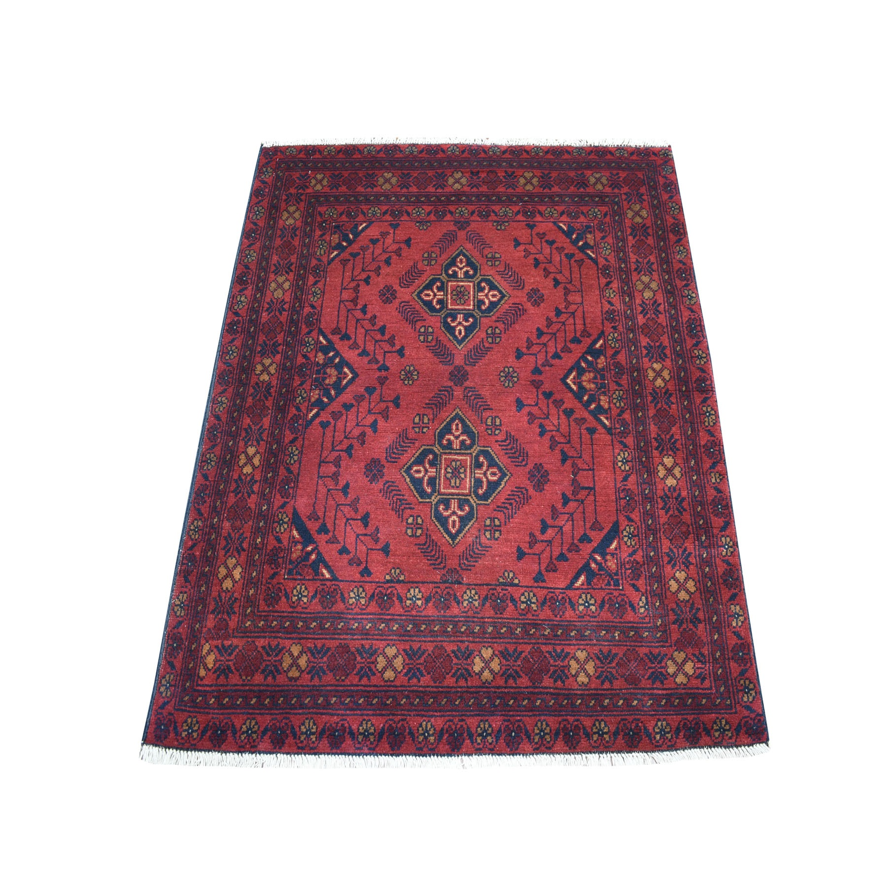 """3'5""""X4'5"""" Deep And Saturated Red Geometric Afghan Andkhoy Pure Wool Hand Knotted Oriental Rug moaec709"""