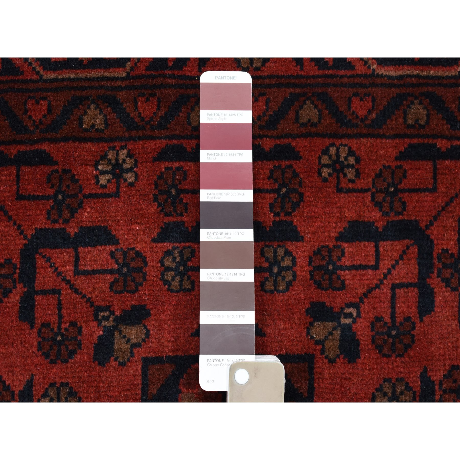 3-3 x5- Deep and Saturated Red Geometric Afghan Andkhoy Pure Wool Hand Knotted Oriental Rug