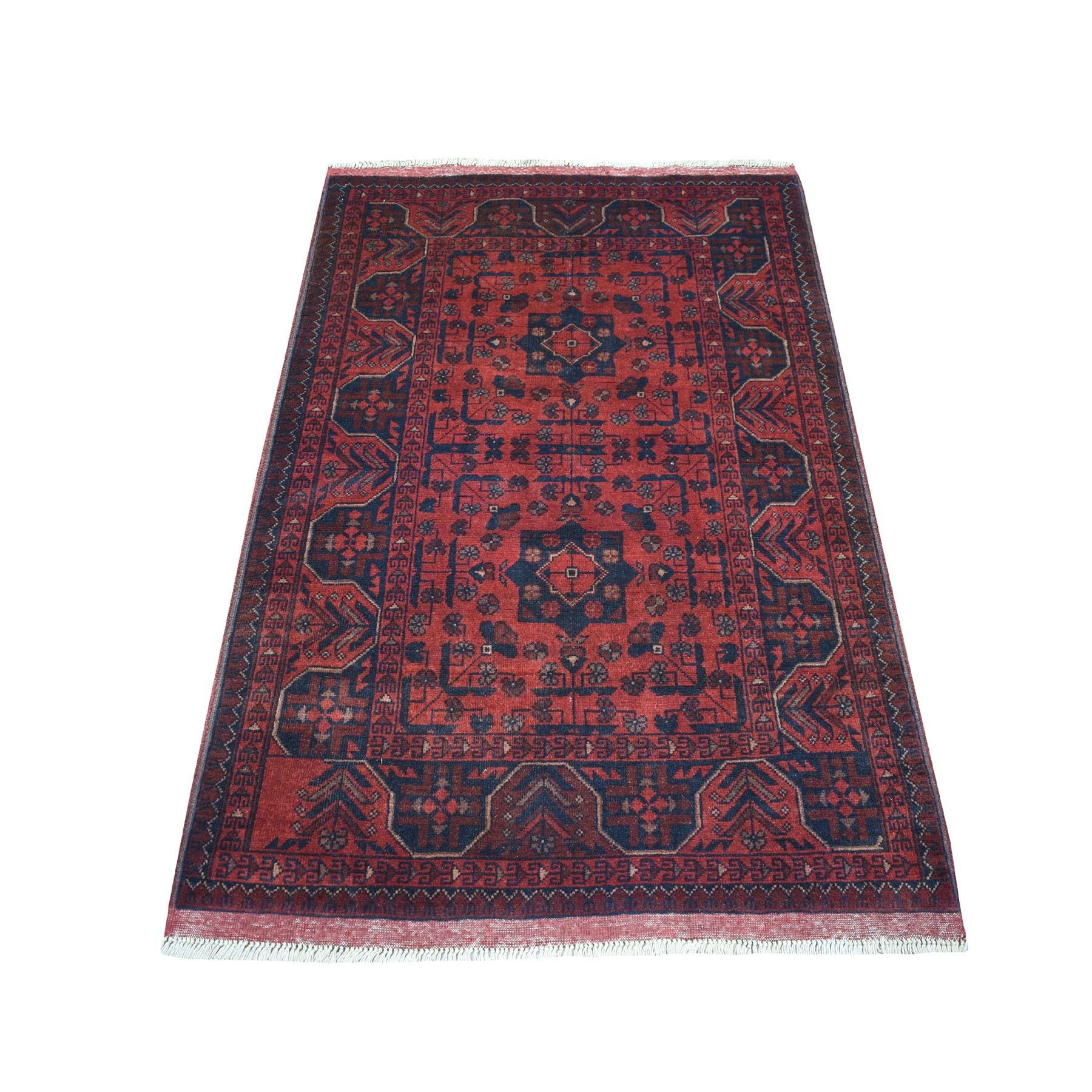 """3'3""""X5' Deep And Saturated Red Geometric Afghan Andkhoy Pure Wool Hand Knotted Oriental Rug moaec7aa"""