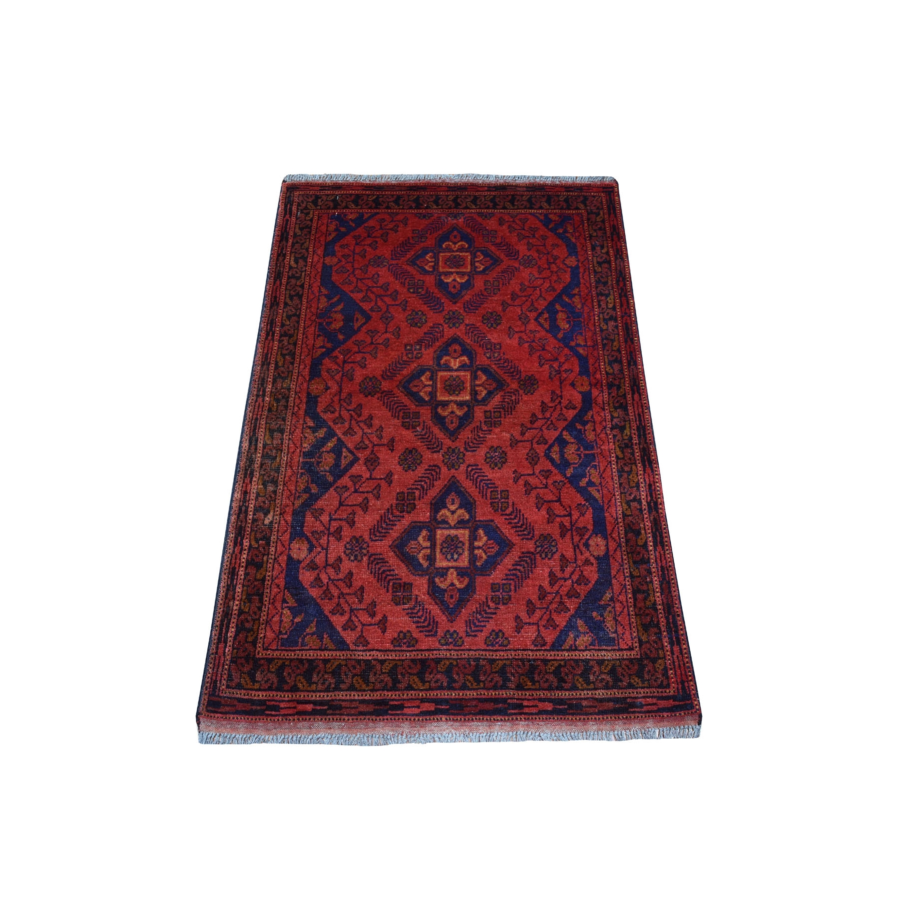 """2'6""""X4' Deep And Saturated Red Geometric Afghan Andkhoy Pure Wool Hand Knotted Oriental Rug moaec7ac"""