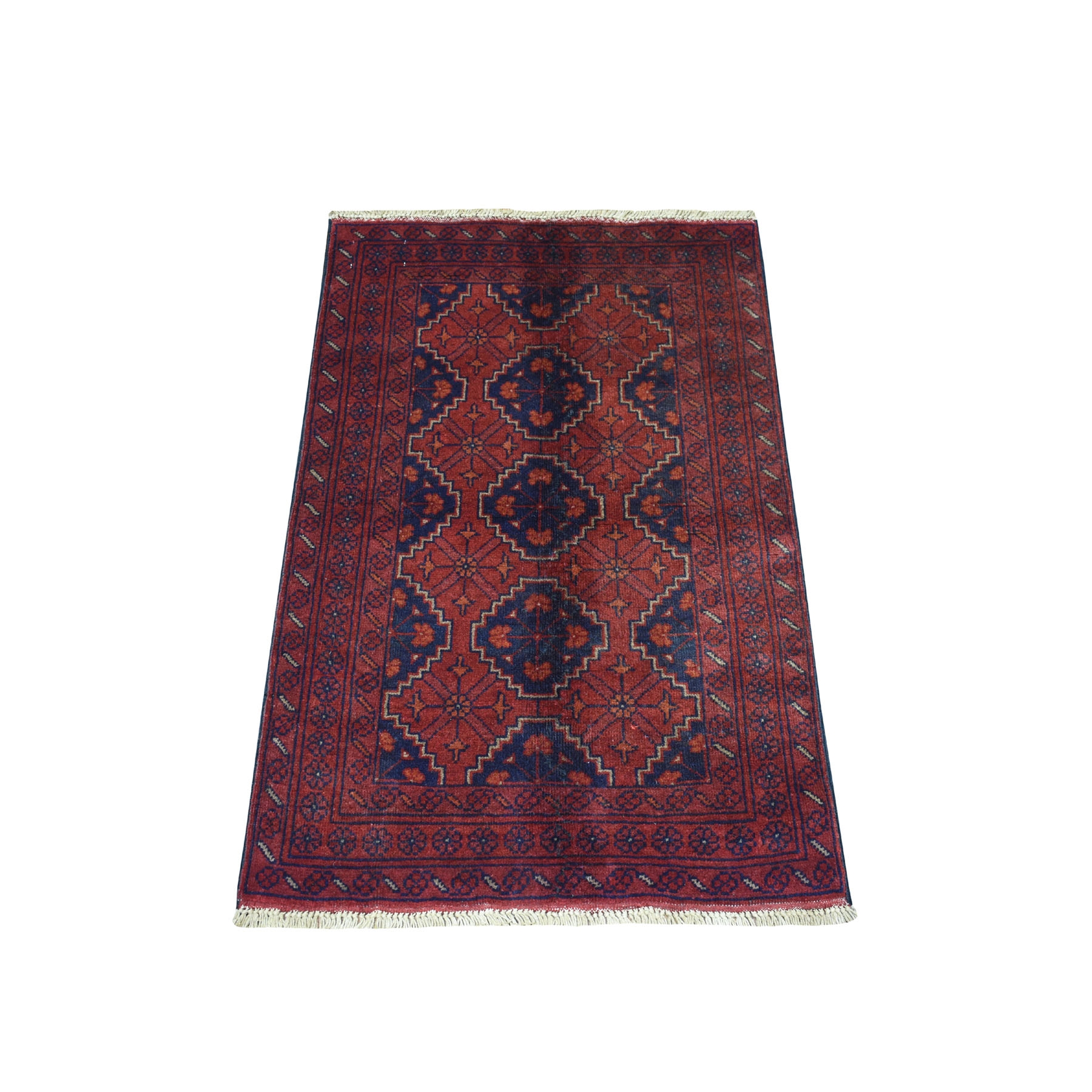 """2'4""""X3'10"""" Deep And Saturated Red Geometric Afghan Andkhoy Pure Wool Hand Knotted Oriental Rug53714"""