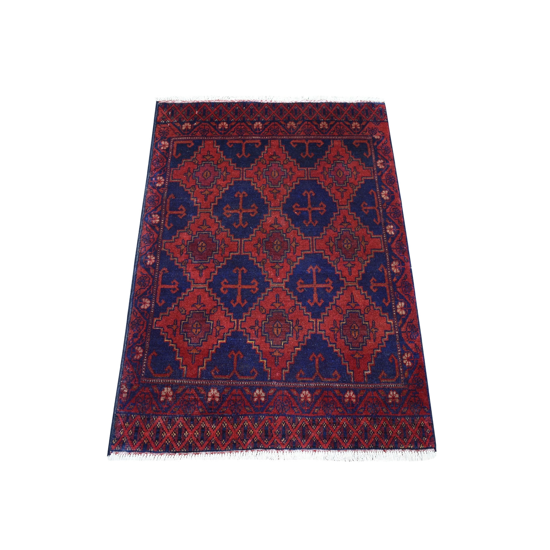 """2'7""""X3'8"""" Deep And Saturated Red Geometric Afghan Andkhoy Pure Wool Hand Knotted Oriental Rug moaec7ae"""