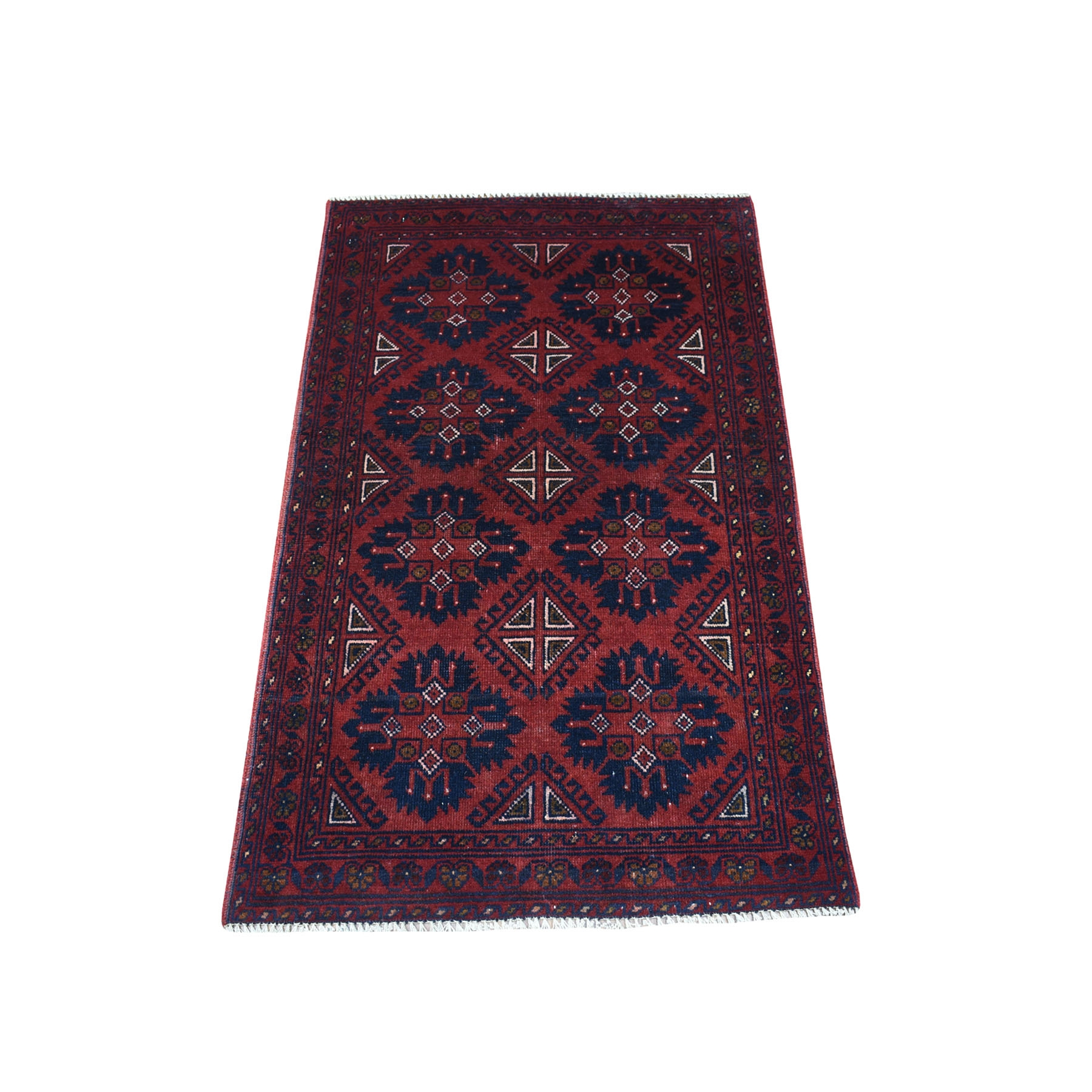 """2'6""""x4' Deep and Saturated Red Geometric Afghan Andkhoy Pure Wool Hand Knotted Oriental Rug 53716"""