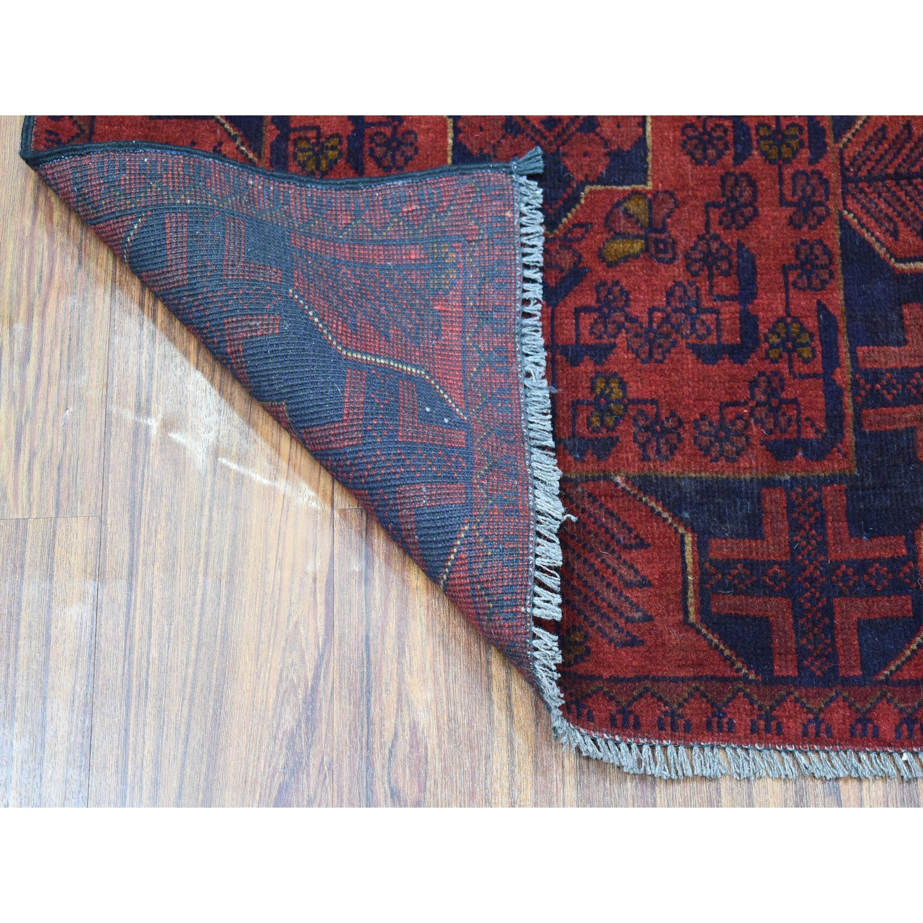 2-4 x4- Deep and Saturated Red Geometric Afghan Andkhoy Pure Wool Hand Knotted Oriental Rug