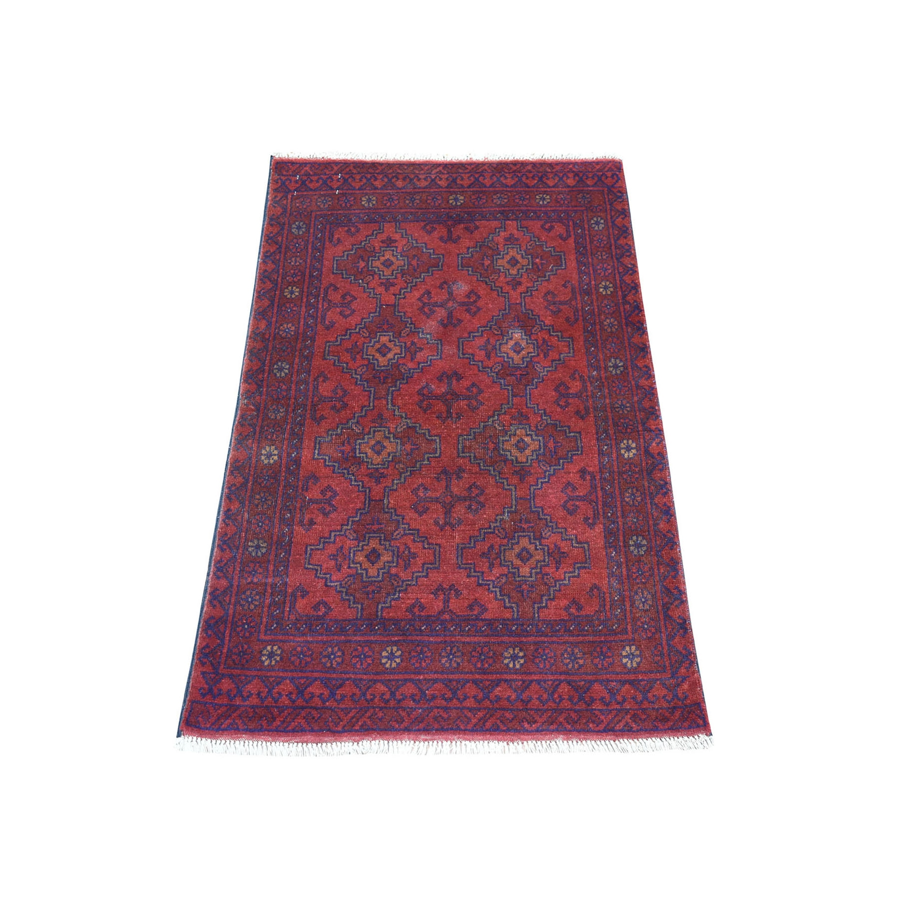 "2'5""x3'10"" Deep and Saturated Red Geometric Afghan Andkhoy Pure Wool Hand Knotted Oriental Rug 53722"