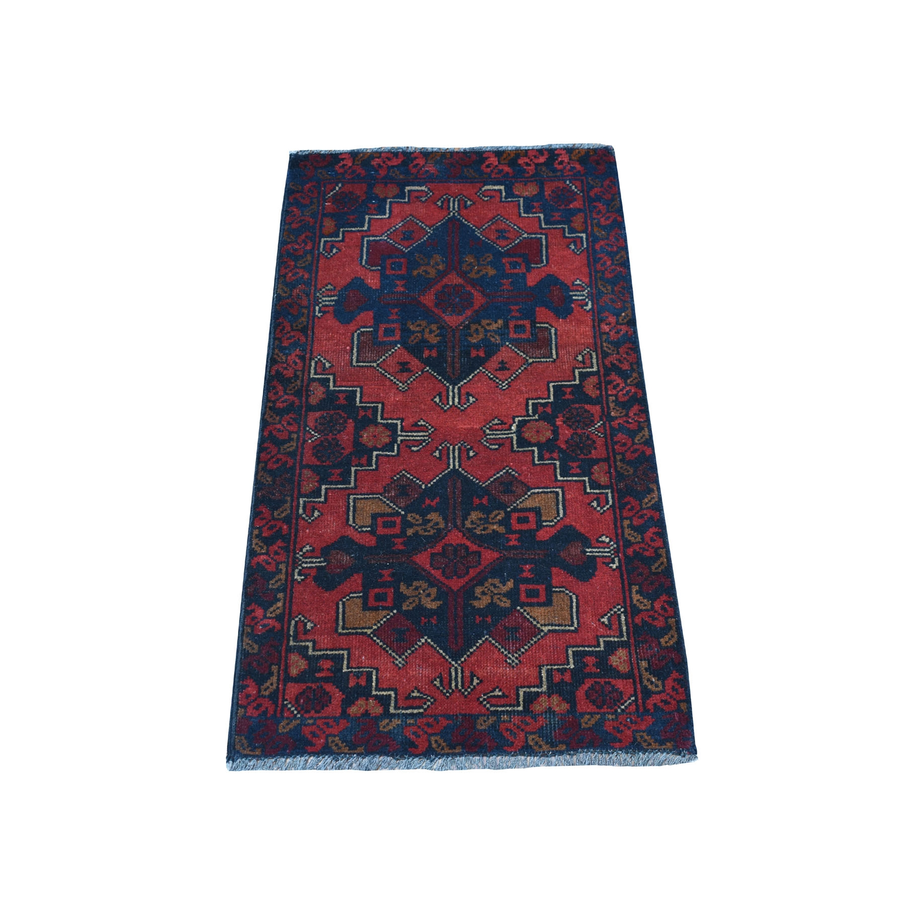 "1'8""X3'2"" Deep And Saturated Red Tribal Afghan Andkhoy Pure Wool Hand Knotted Oriental Rug moaec7c0"