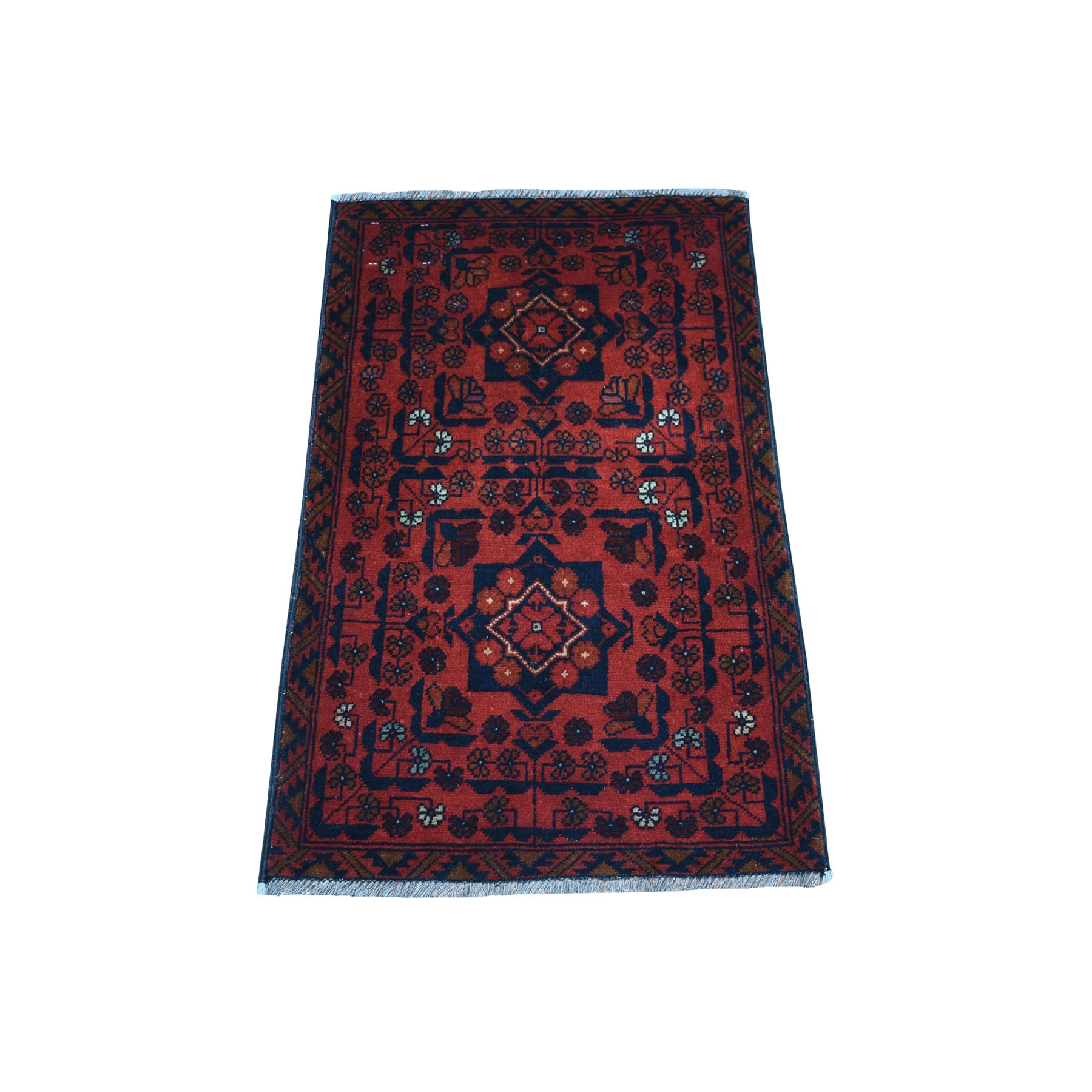 "1'9""X2'10"" Deep And Saturated Red Geometric Afghan Andkhoy Pure Wool Hand Knotted Oriental Rug moaec7cc"