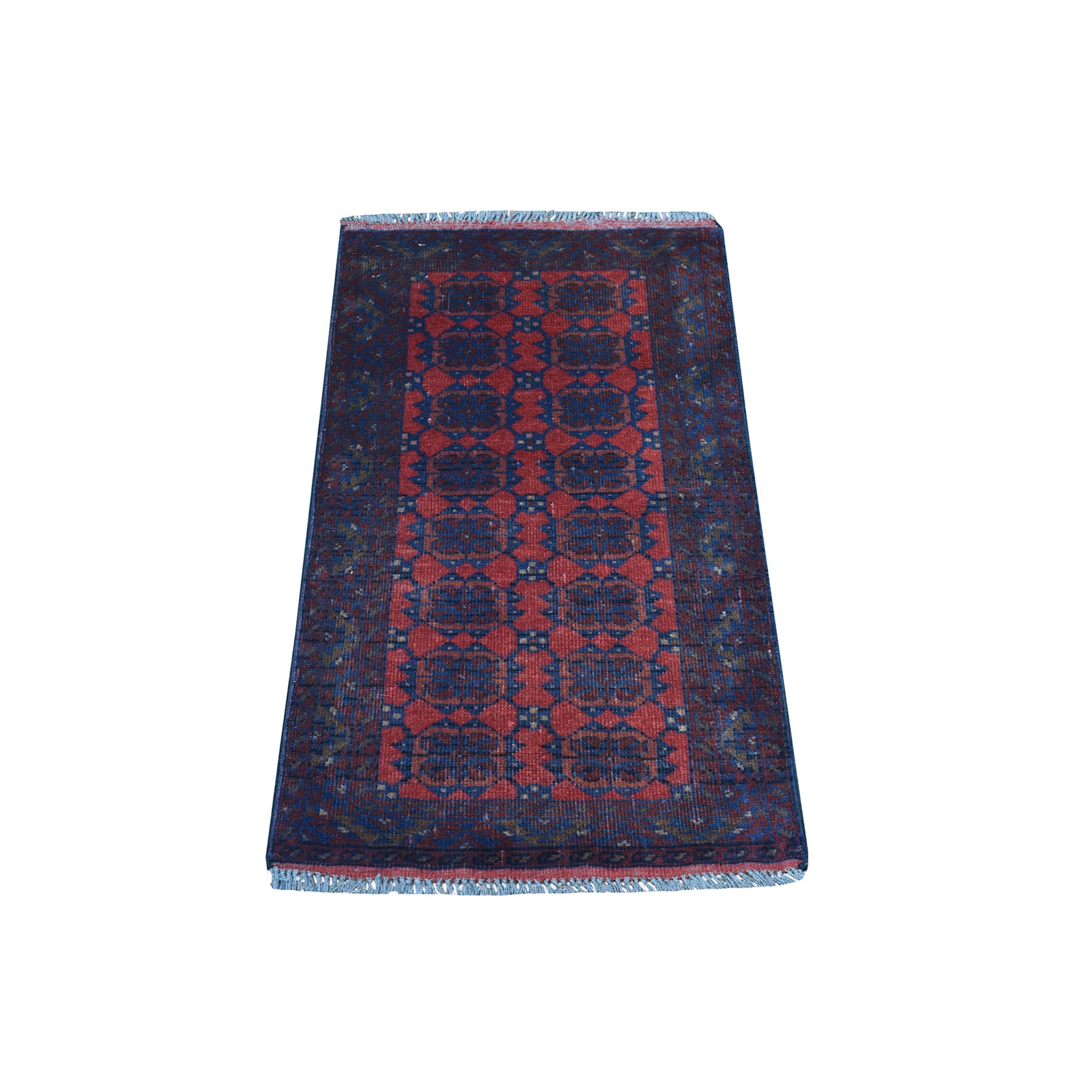 """1'9""""x3'2"""" Deep and Saturated Red Geometric Afghan Andkhoy Pure Wool Hand Knotted Oriental Rug"""