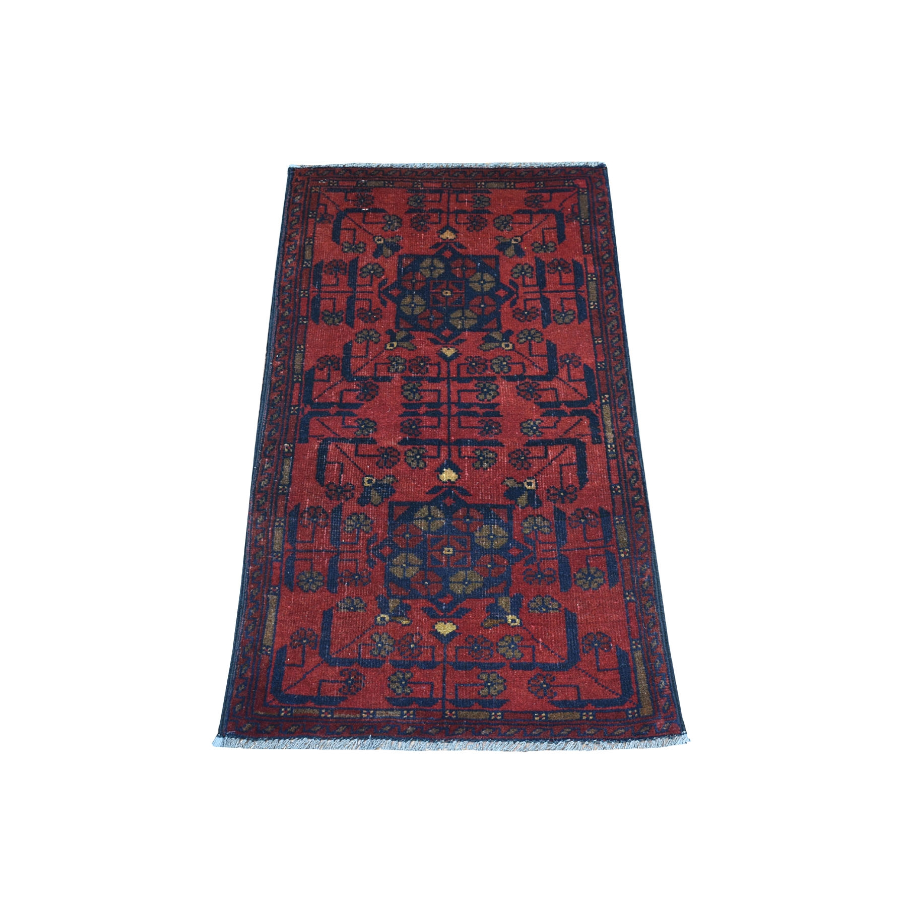"""1'8""""x3'4"""" Deep and Saturated Red Geometric Afghan Andkhoy Pure Wool Hand Knotted Oriental Rug"""